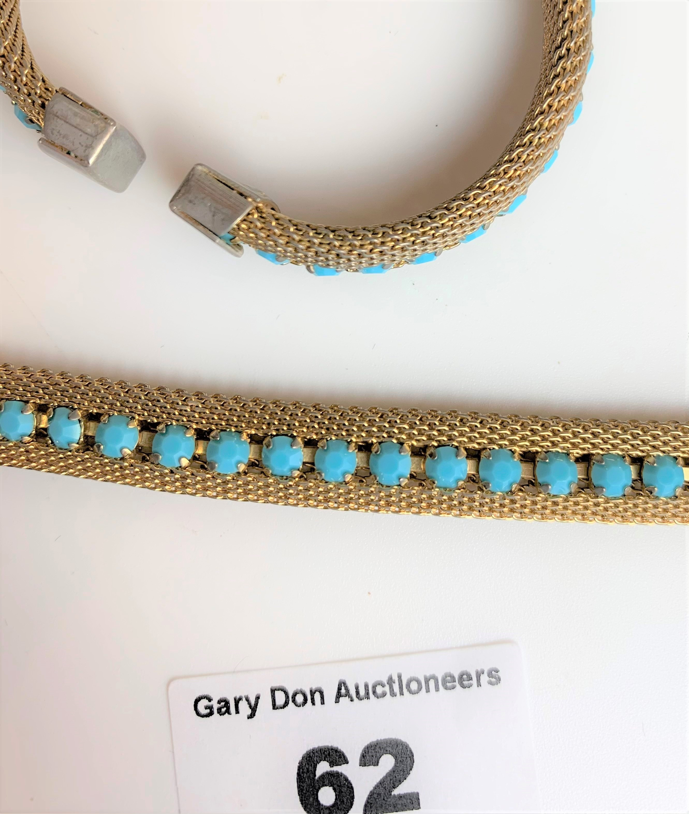 """Dress choker style necklace and matching bangle with turquoise colour stones. Necklace 13"""" long, - Image 6 of 6"""