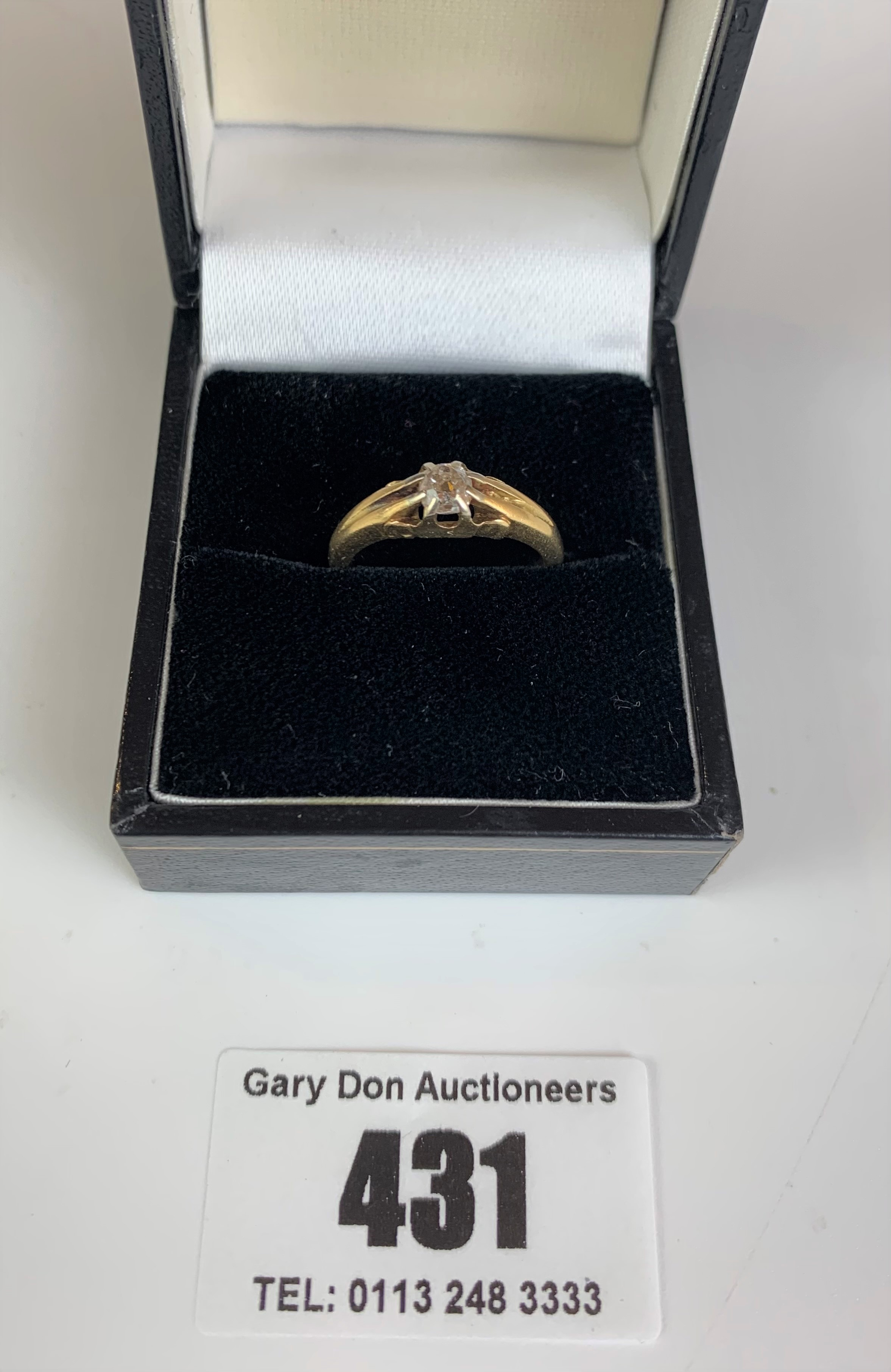 18k gold and diamond solitaire ring, size K, w: 4.1 gms - Image 3 of 5