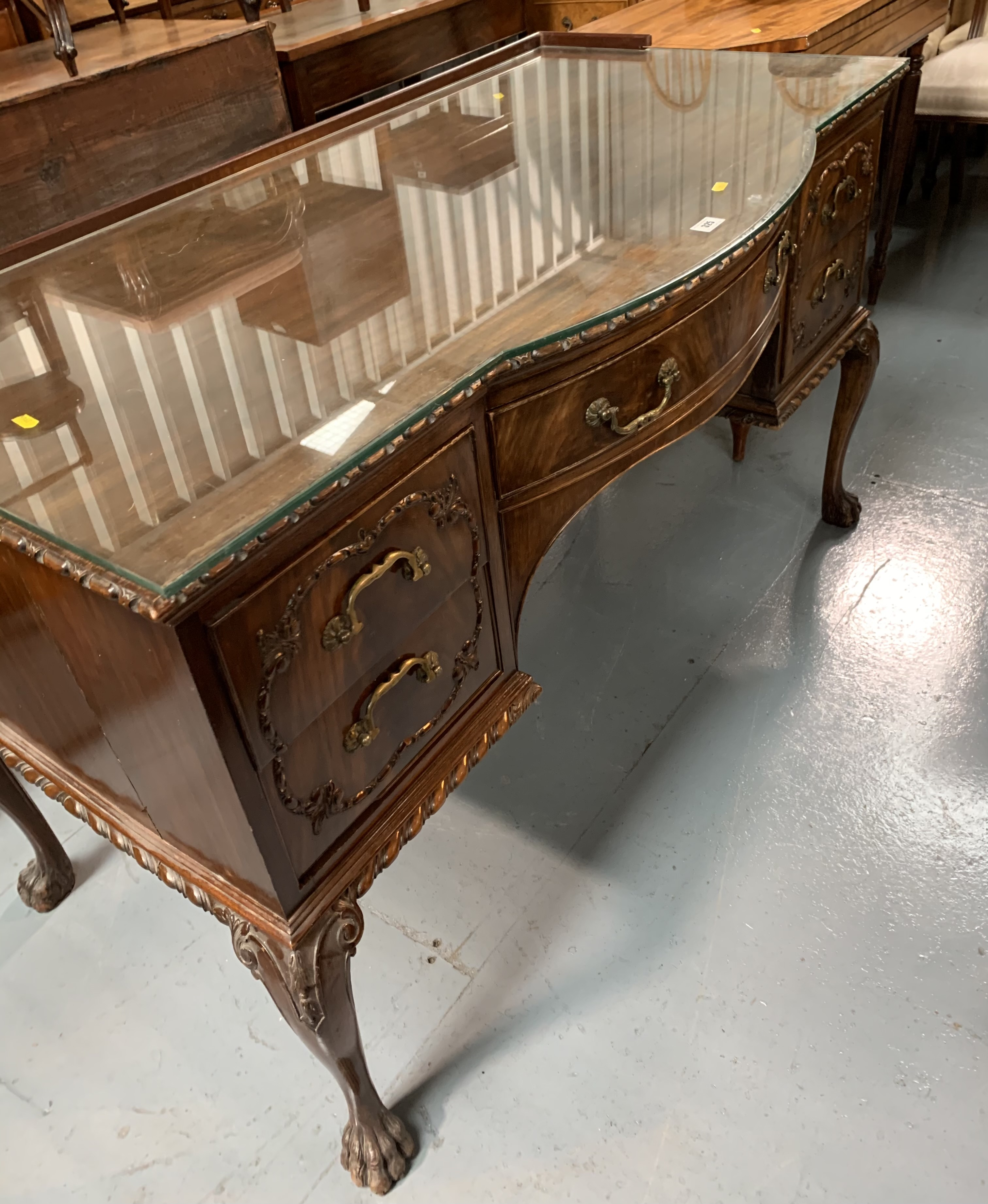 """Bow fronted claw/ball foot sideboard with glass top and 5 drawers 50"""" wide, 26"""" deep, 31"""" high - Image 4 of 6"""