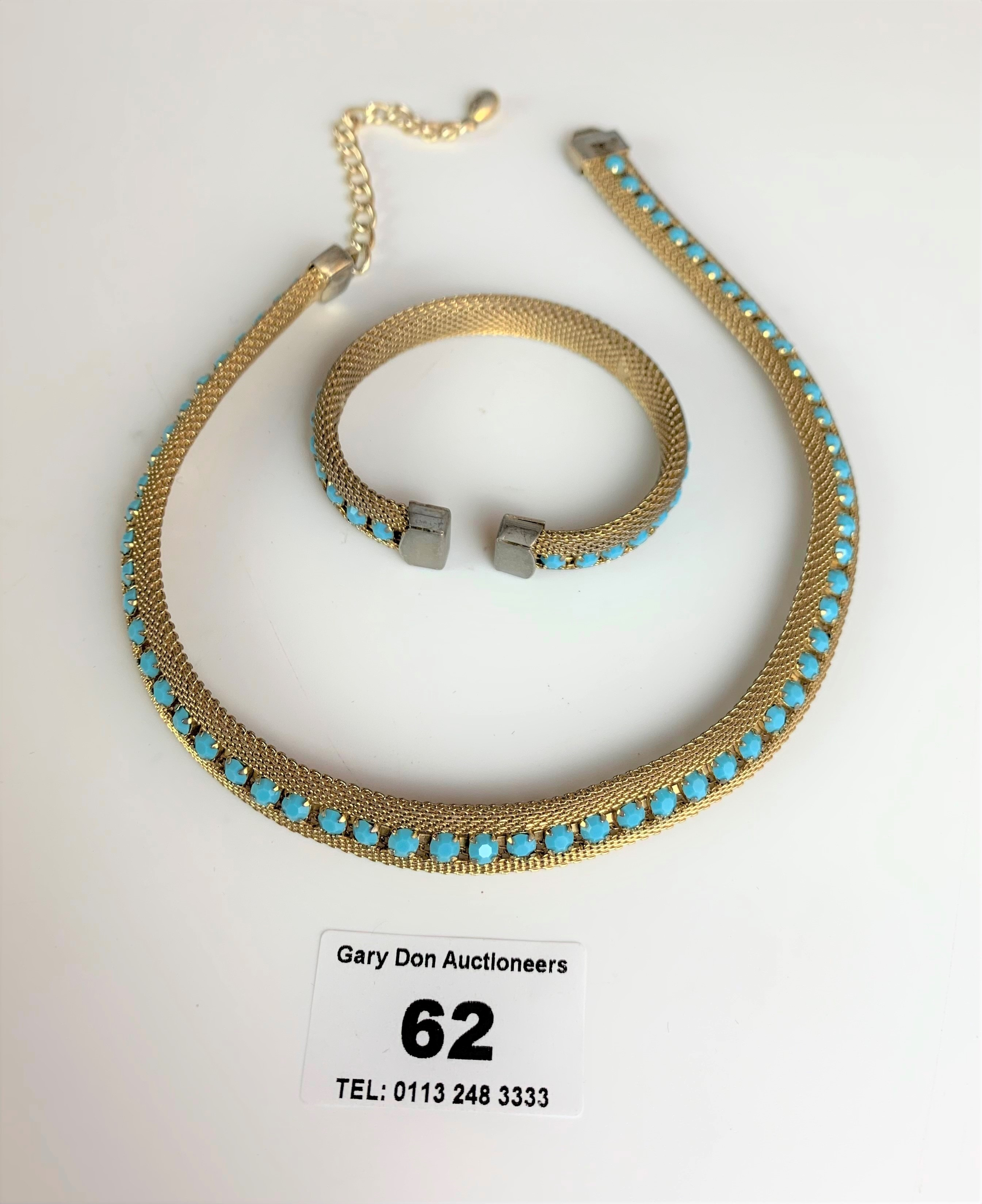 """Dress choker style necklace and matching bangle with turquoise colour stones. Necklace 13"""" long, - Image 2 of 6"""