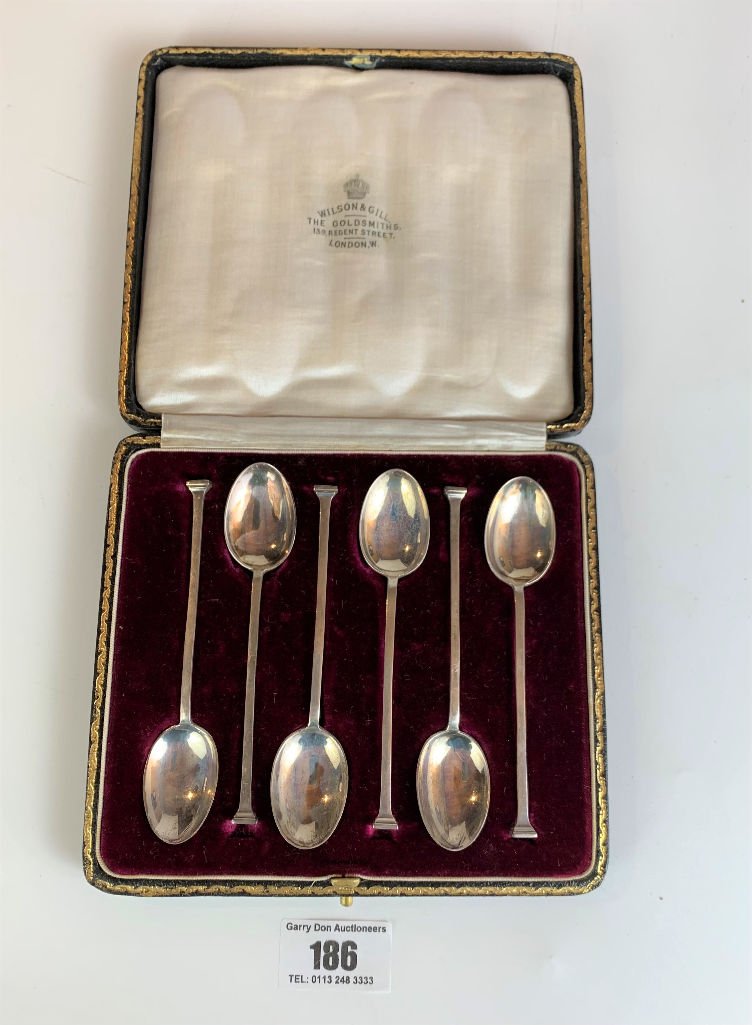Cased set of 6 silver teaspoons, Sheffield 1921, total w: 1.71 ozt - Image 2 of 4