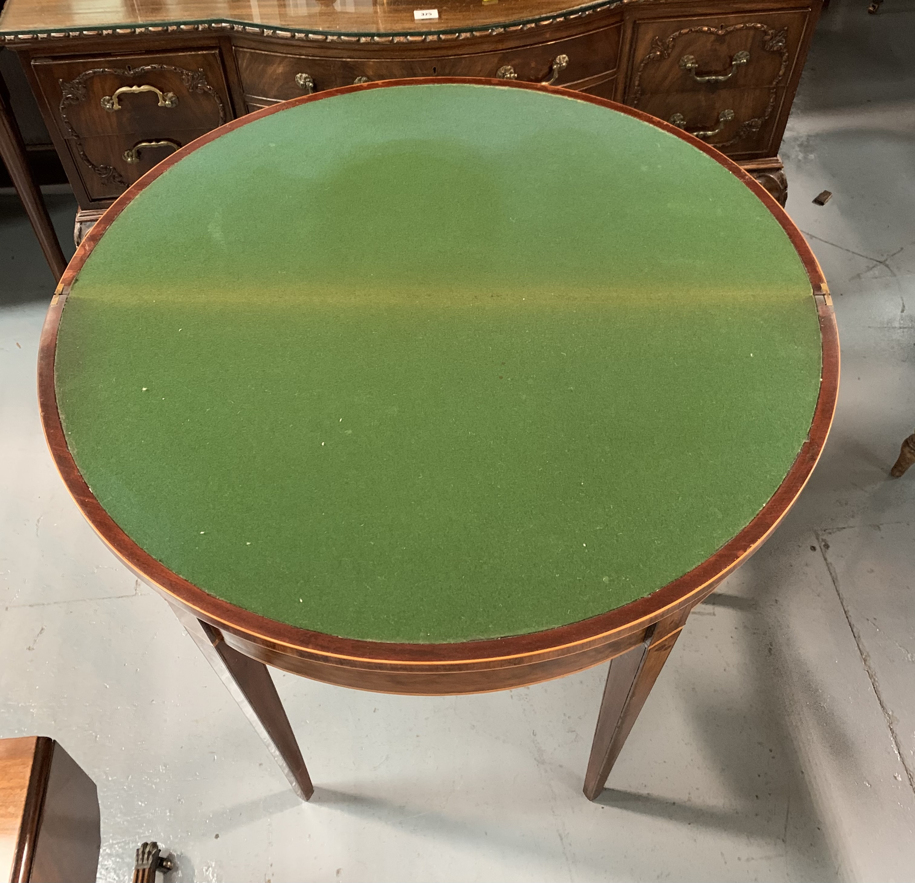 """Demi lune turnover top card table with baize interior, 36"""" wide open, 17.5"""" closed, 36"""" long, 29"""" - Image 6 of 6"""