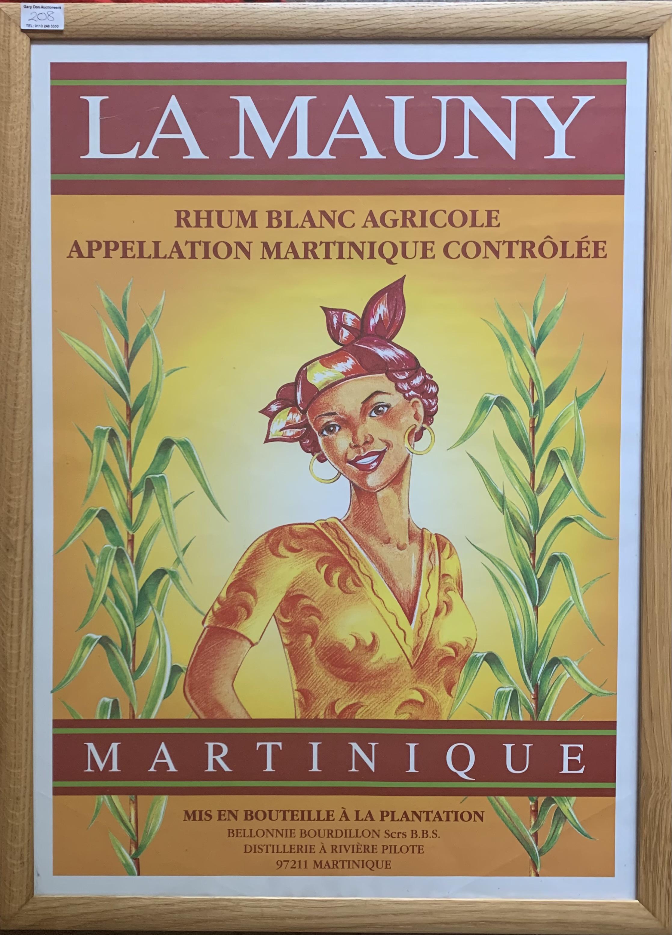 "Advertising poster – La Mauny, Rhum Blanc Agricole, Martinique. Image 18"" x 26"", frame 21.5"" x 29."