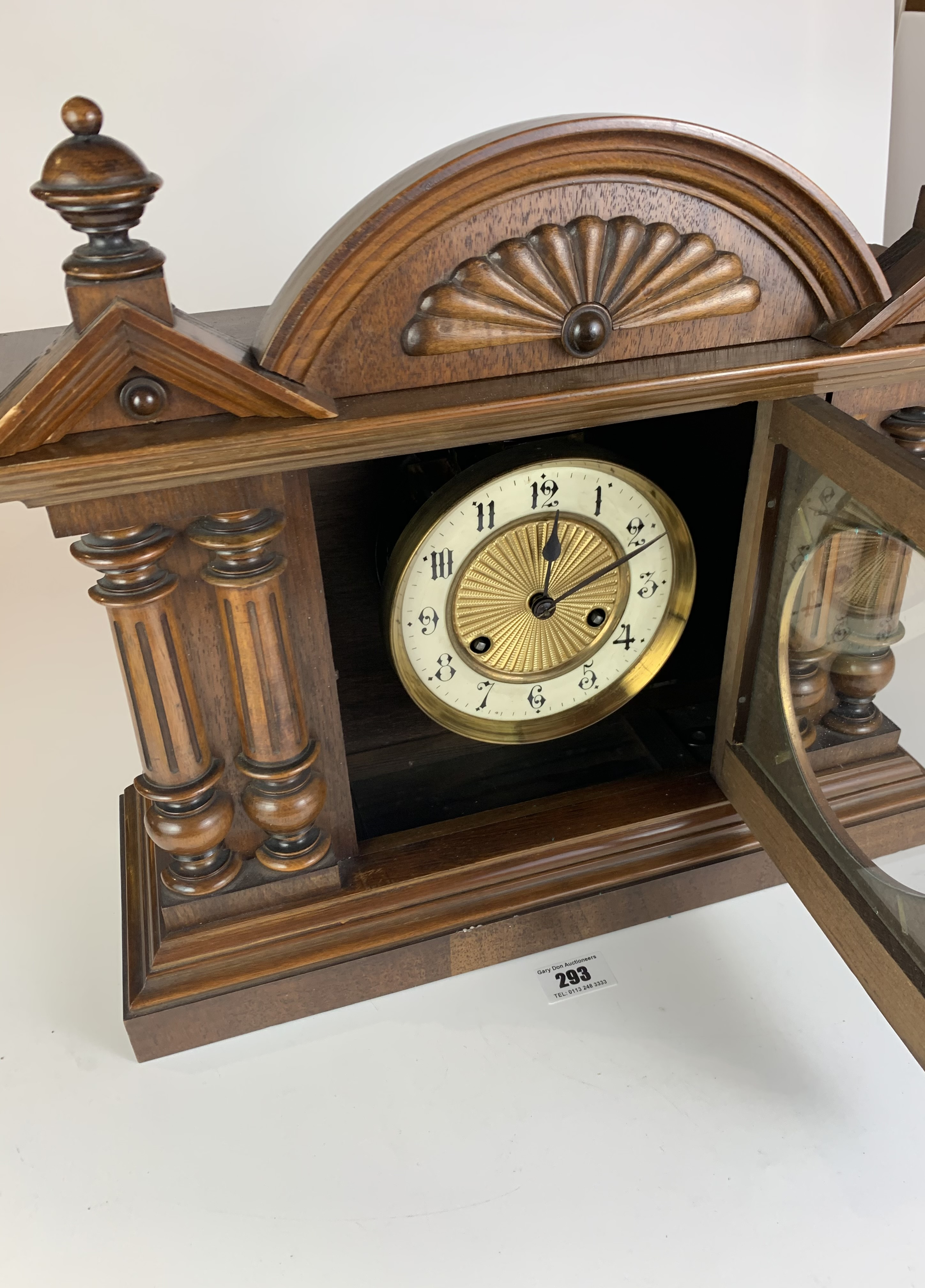 """Antique mantle clock, 14.5"""" high, 16.5"""" wide - Image 4 of 6"""