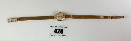 9k gold ladies Accurist watch with 9k gold bracelet, total w: 17.6 gms, not working