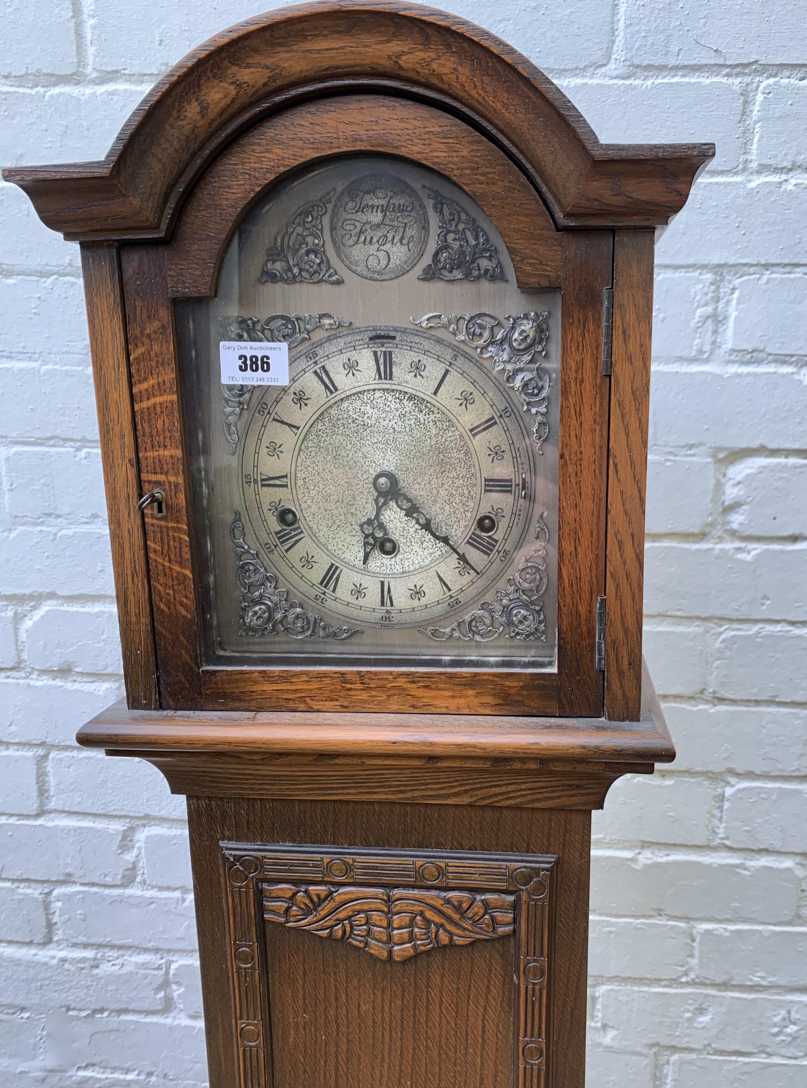 "Oak longcase grandmother clock with brass face, pendulum, key and single weight. Not working. 64"" - Image 3 of 9"