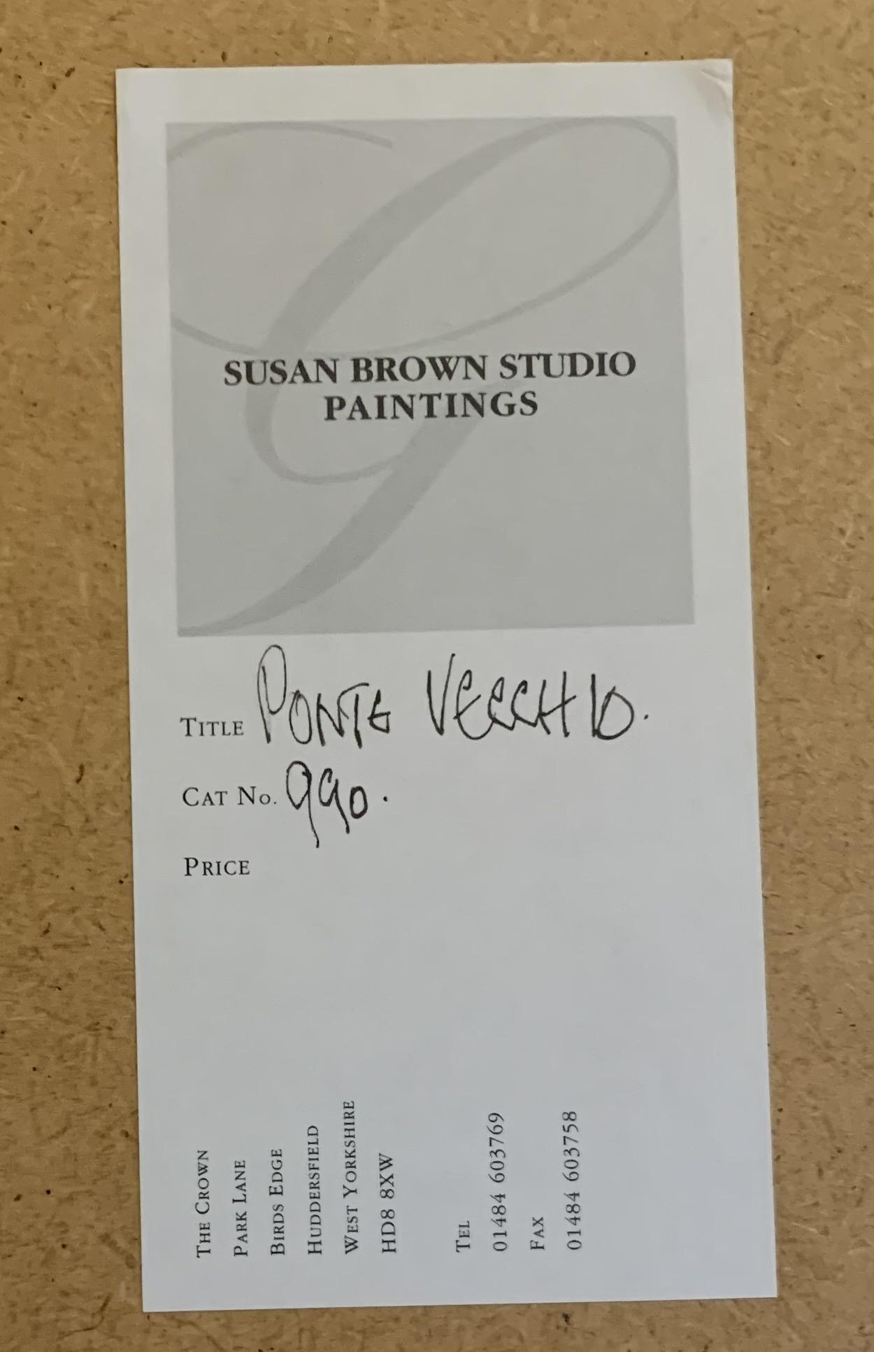 "Susan Brown watercolour 'Ponte Vecchio' , image 20"" x 14"", frame 29"" x 23.5"" good condition - Image 4 of 4"