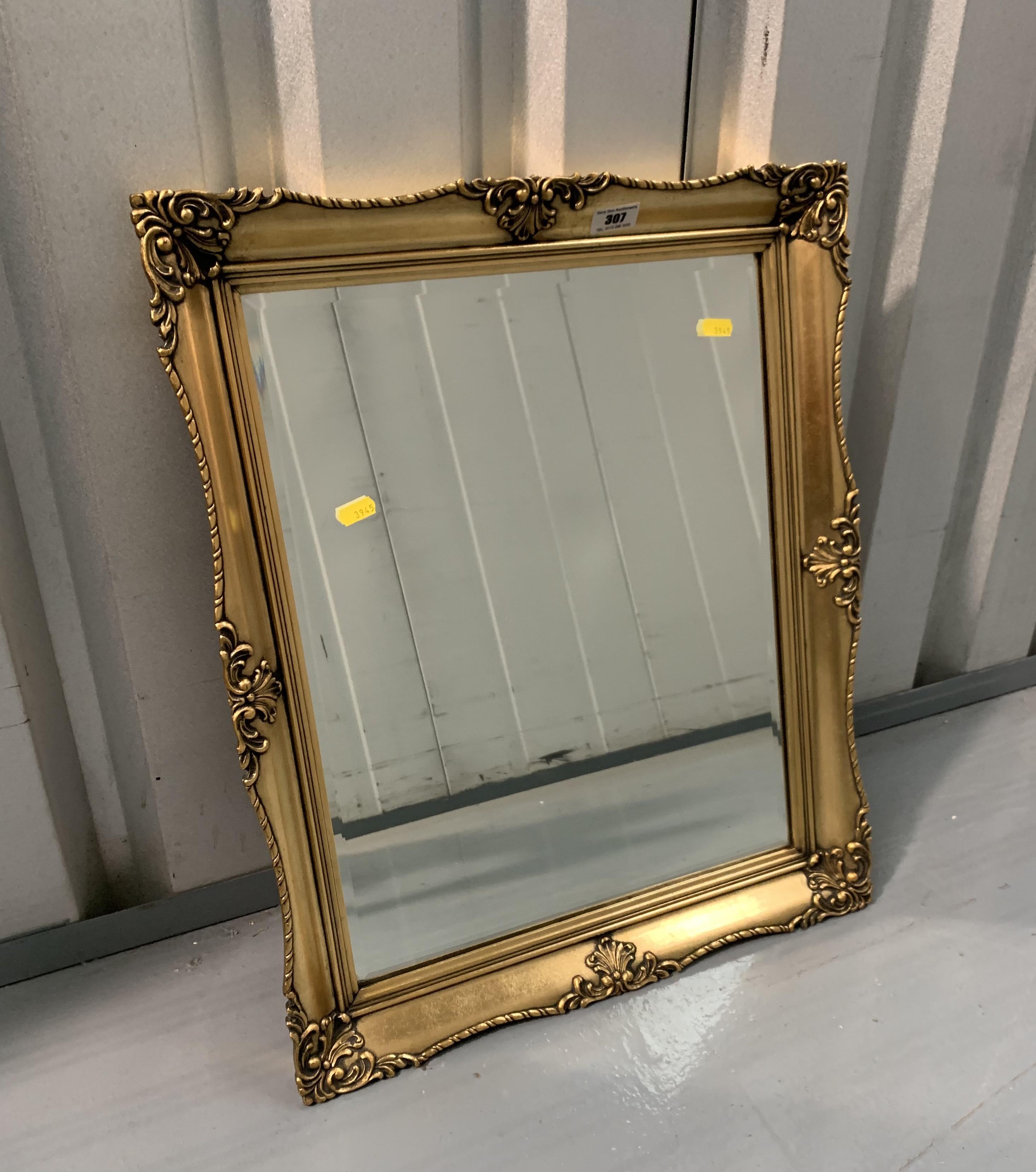 "Gilt framed rectangular mirror. 23"" x 19"""
