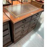 """Mahogany desk with leather top and 4 double drawers. 30"""" high, 37"""" wide, 24"""" deep"""
