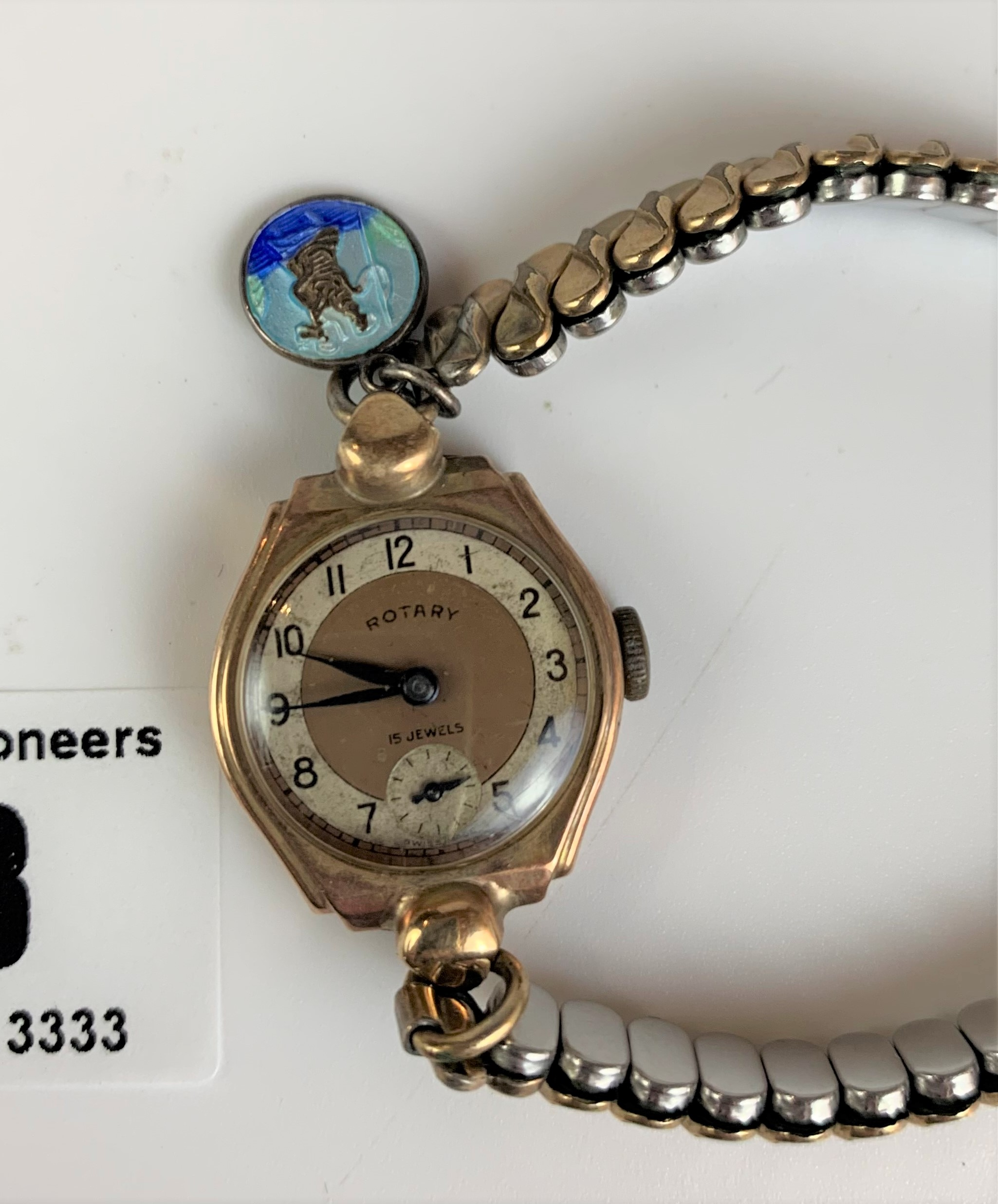 9k gold ladies Rotary watch with plated elasticated strap. Winder turns but not running - Image 3 of 4