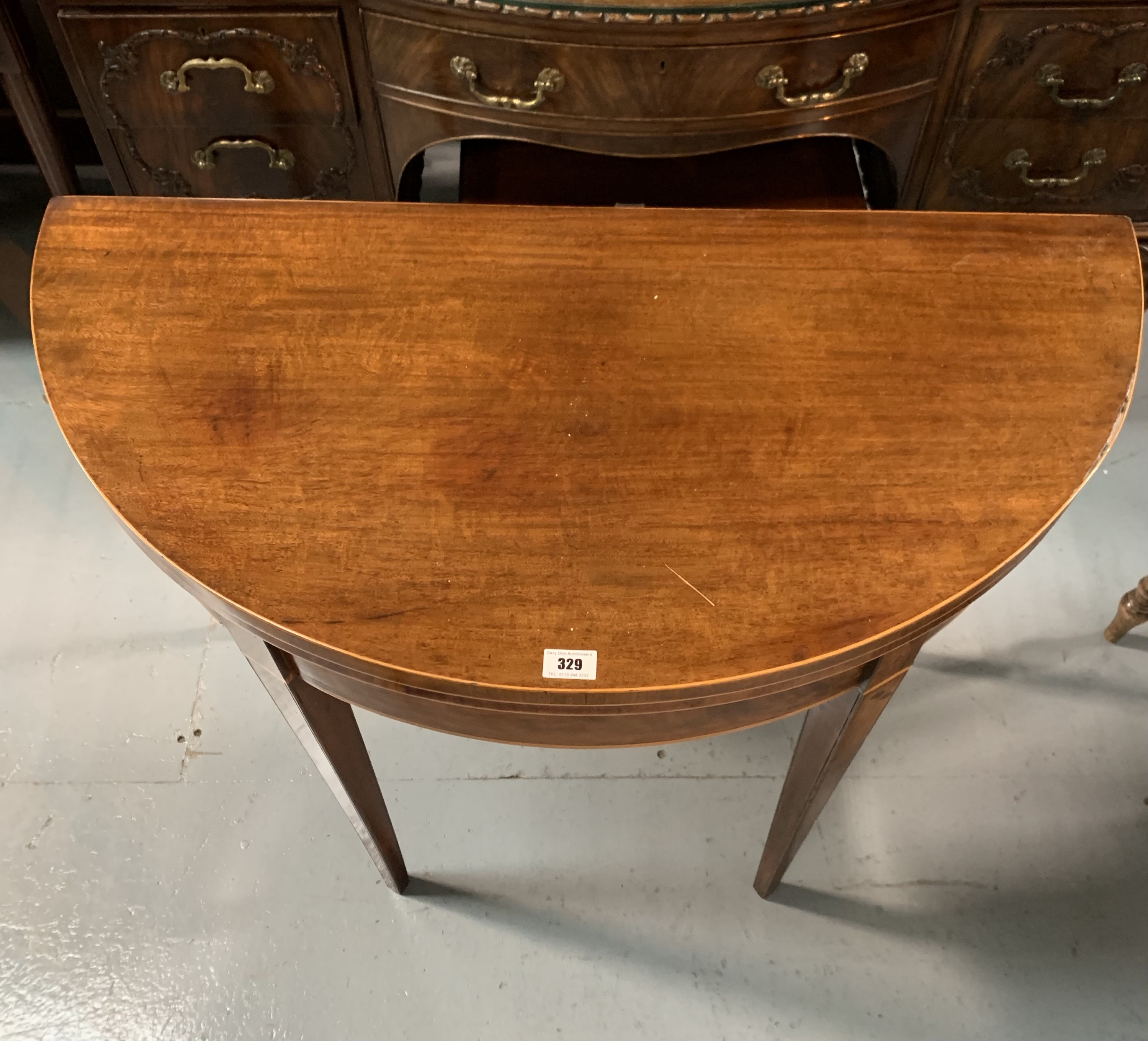 """Demi lune turnover top card table with baize interior, 36"""" wide open, 17.5"""" closed, 36"""" long, 29"""" - Image 4 of 6"""