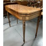 """Antique satinwood turnover top table. 35"""" wide open, 17"""" closed, 36"""" long, 29.5"""" high"""