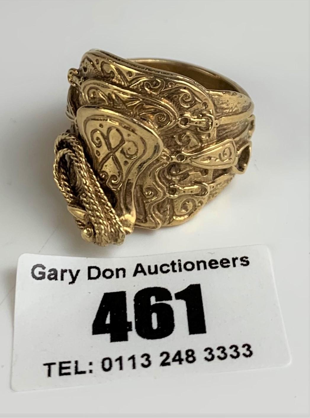 9k gold gents saddle ring, size Z+, w:26 gms - Image 4 of 6