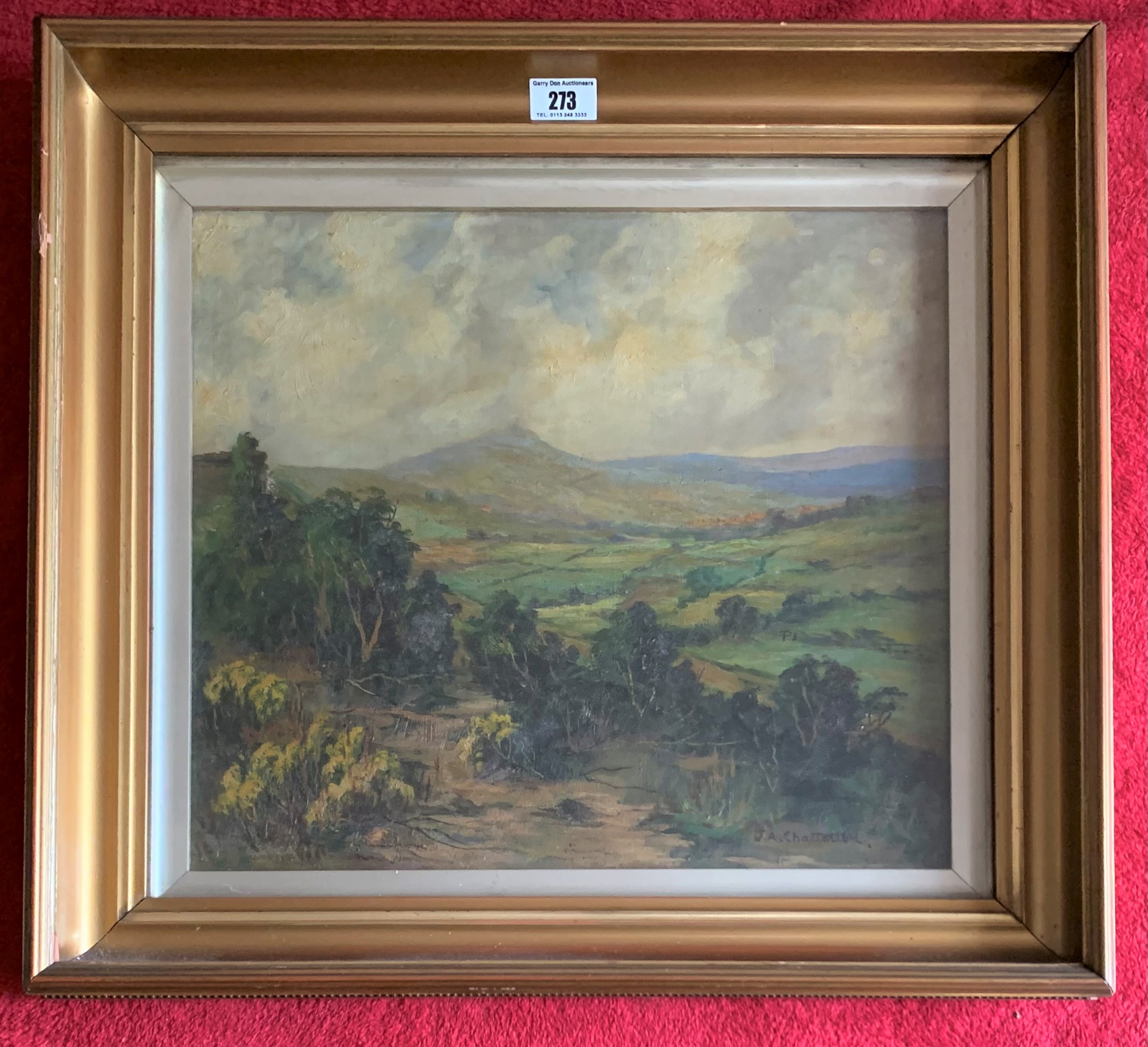 """Oil painting of landscape by J. A. Chatterton, image 15.5"""" x 13.5"""", frame 21"""" x 19"""". Painting in"""