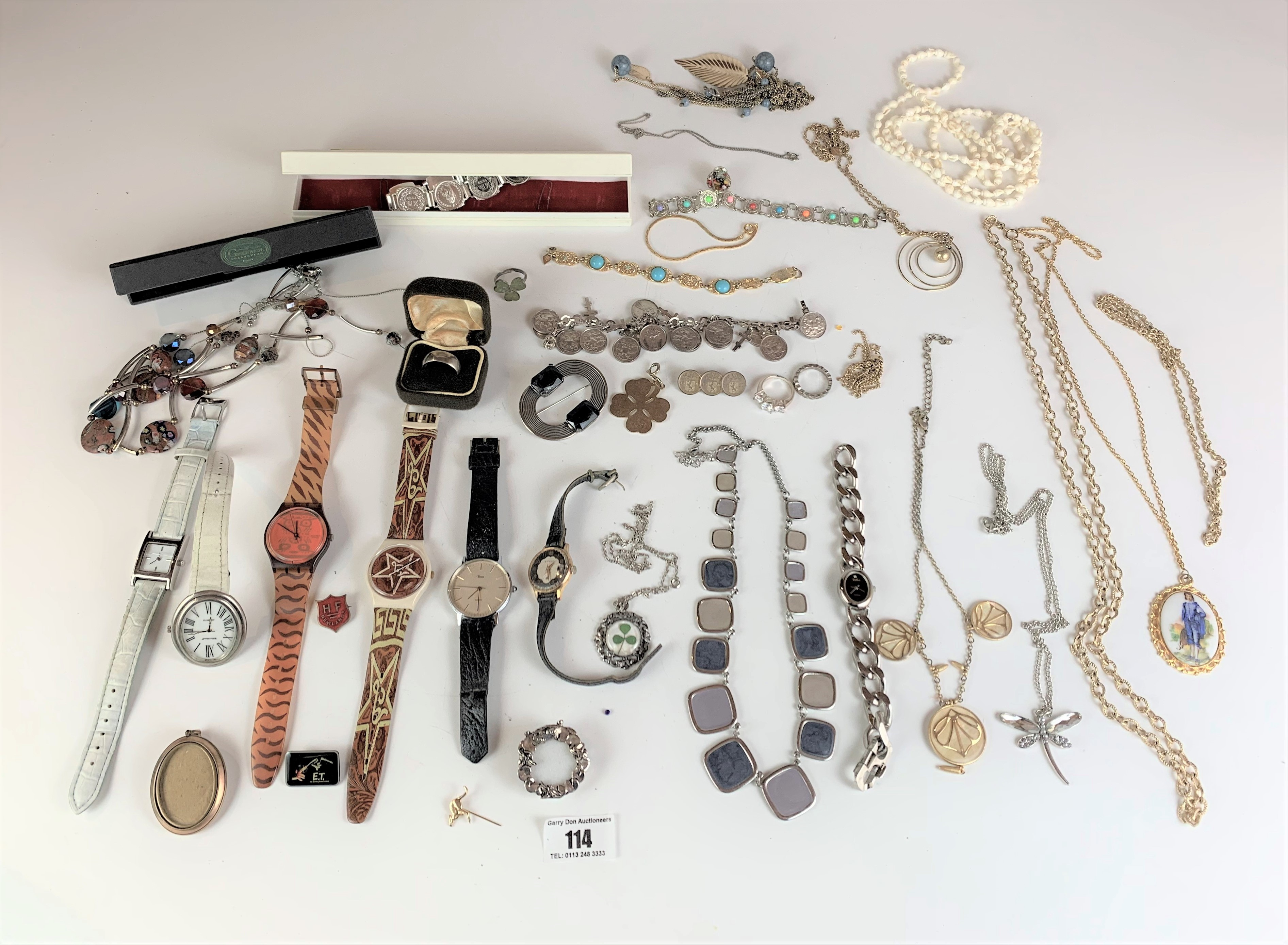 Large bag of assorted dress jewellery including watches, necklaces, bracelets, brooches etc.