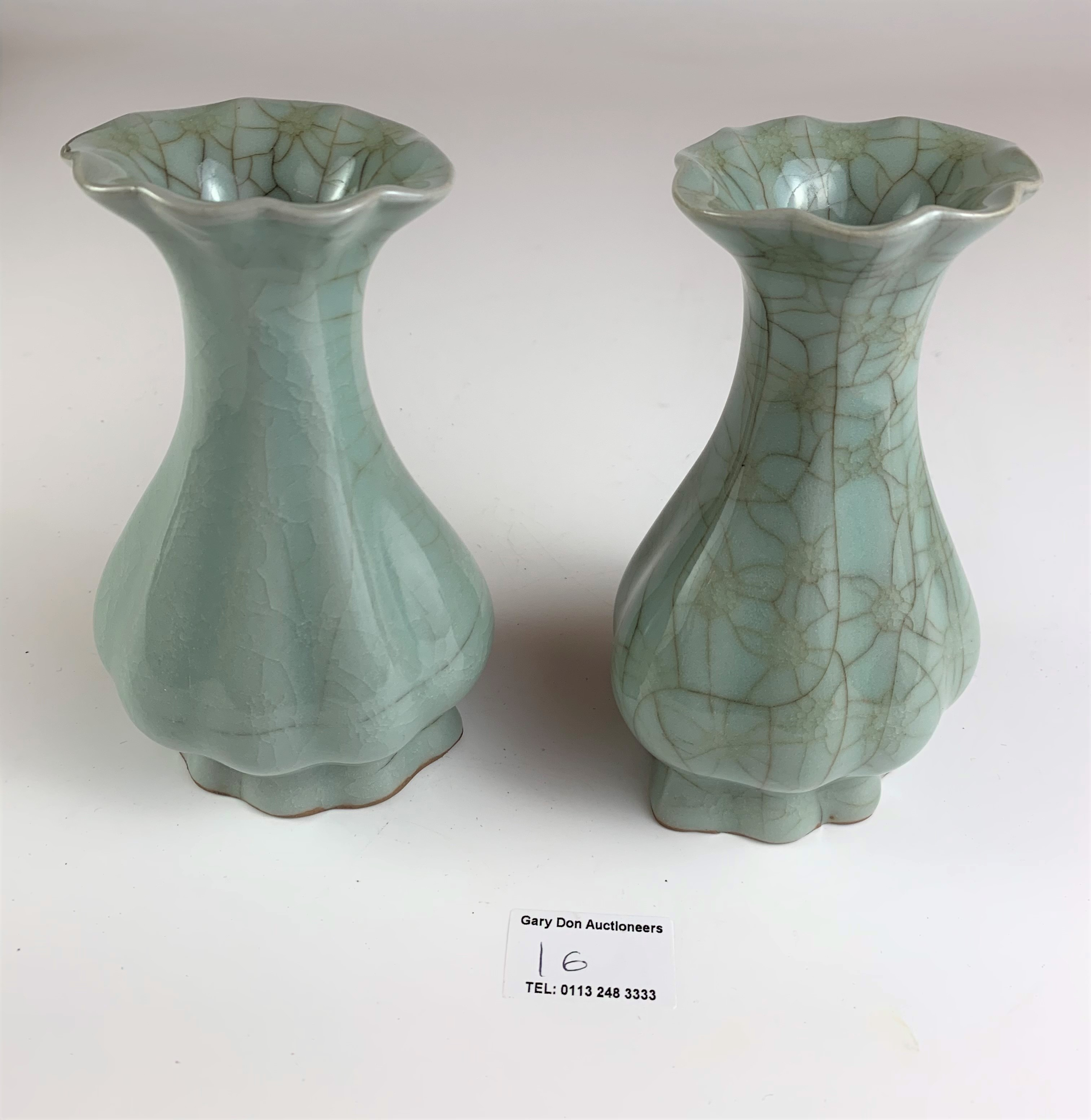 """Pair of Chinese vases in wooden presentation box marked Longquan Royal Kiln China. Vases 6"""" high, - Image 5 of 8"""