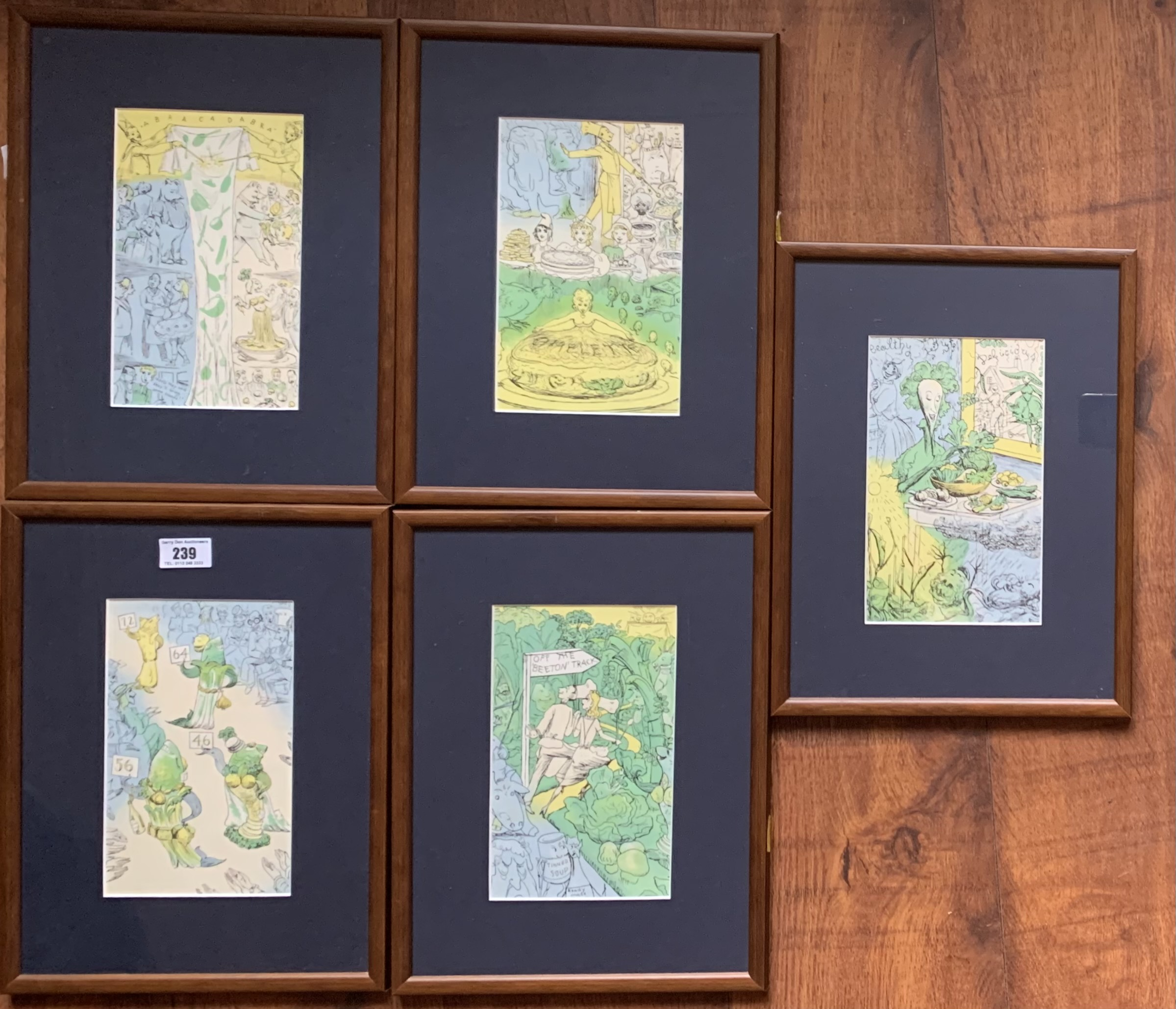 """Set of 5 cartoon style pictures, unsigned. Images 5"""" x 8"""", frames 10"""" x 13.5"""" - Image 4 of 5"""