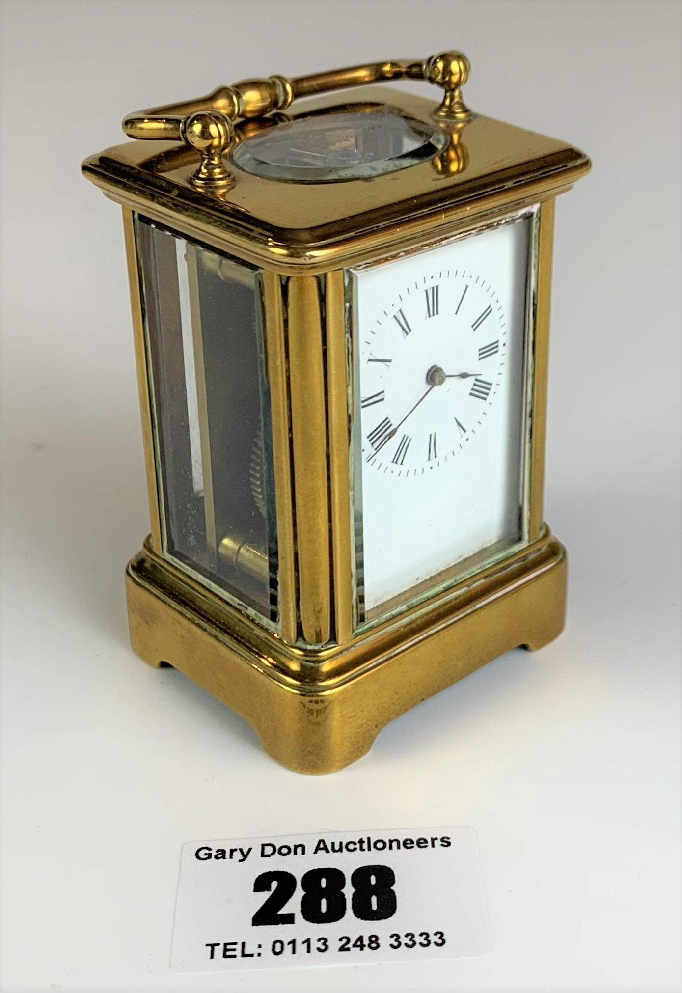 """Miniature brass carriage clock, 3"""" high plus handle. Working with key - Image 2 of 9"""