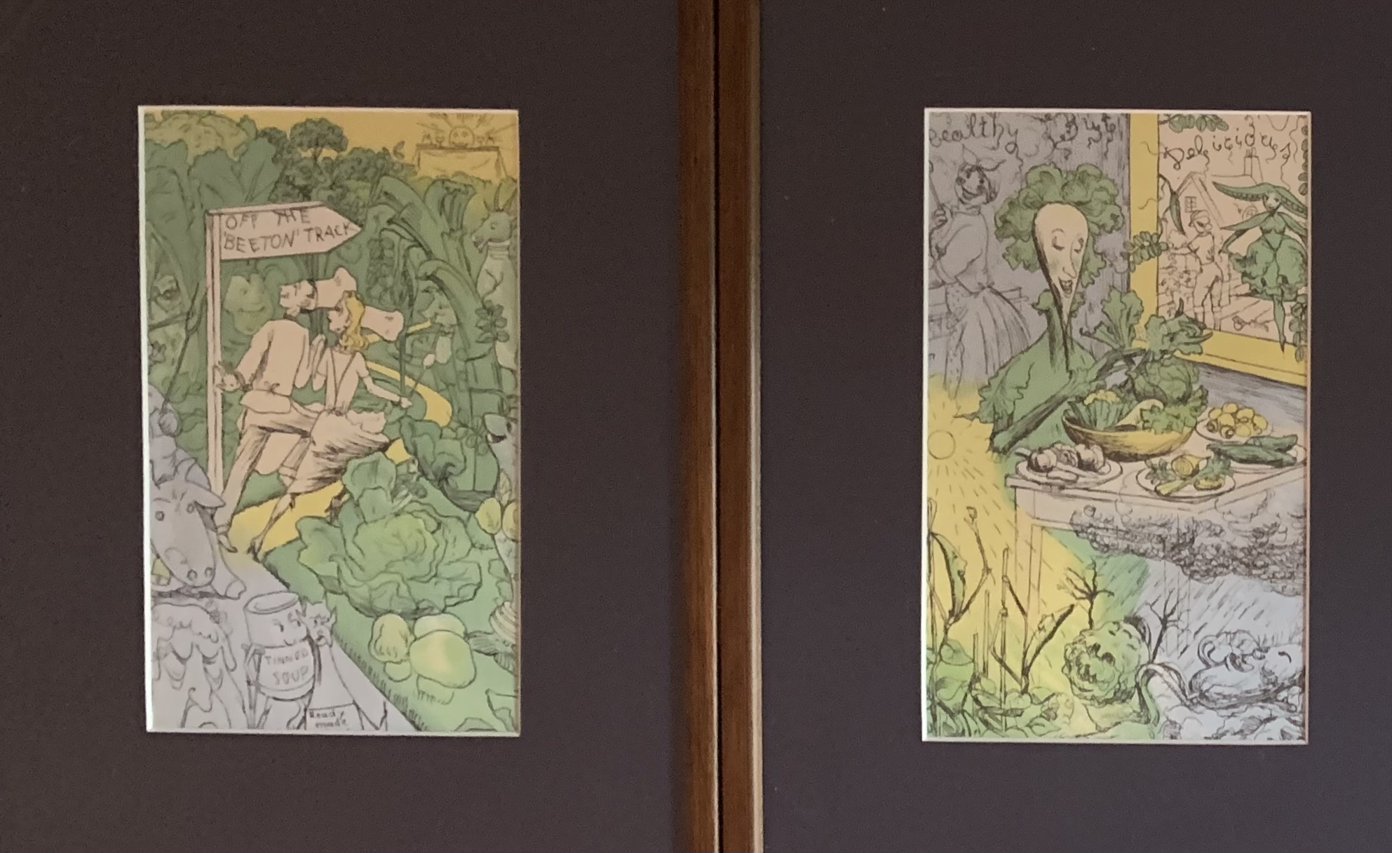 """Set of 5 cartoon style pictures, unsigned. Images 5"""" x 8"""", frames 10"""" x 13.5"""" - Image 2 of 5"""