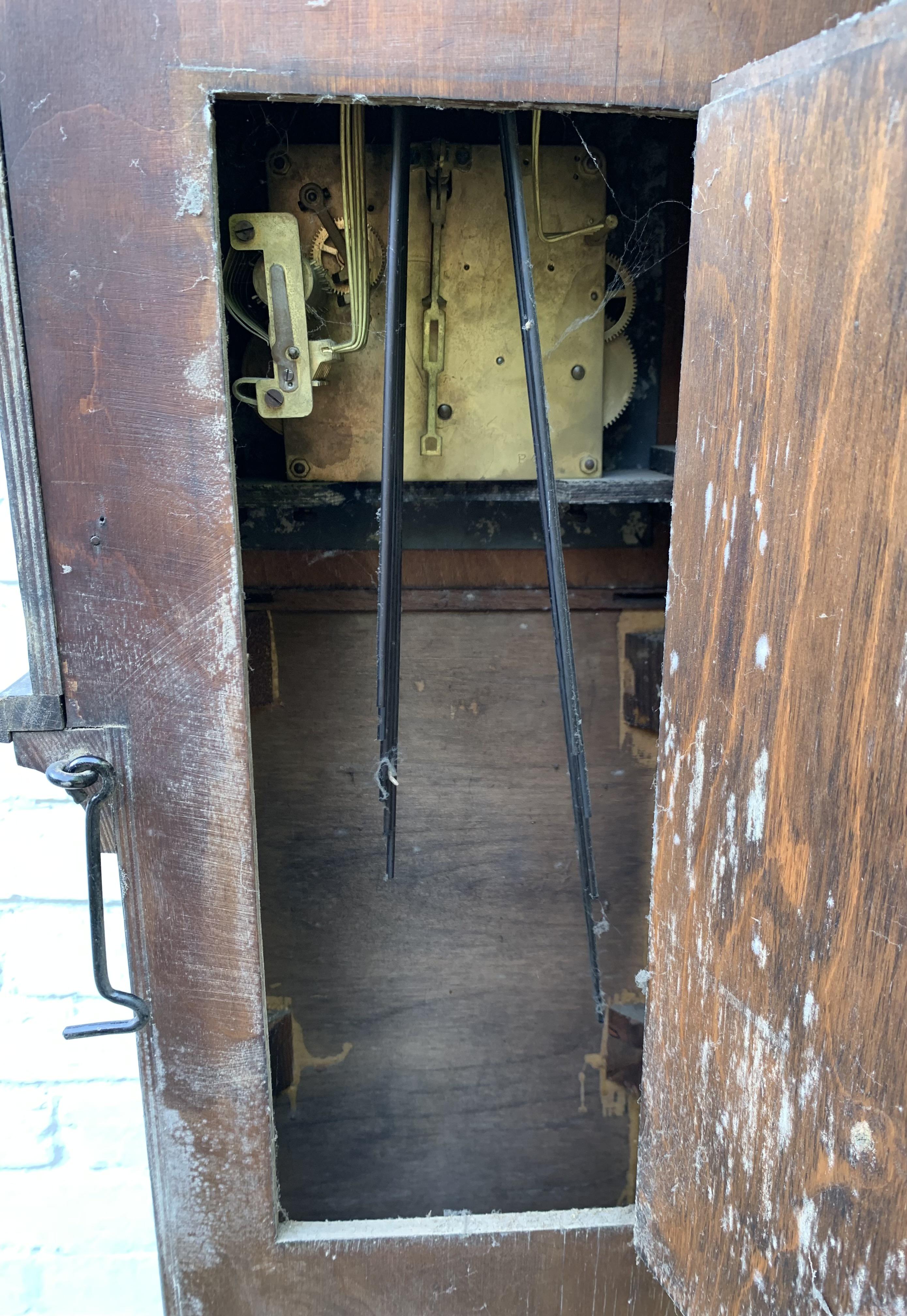"Oak longcase grandmother clock with brass face, pendulum, key and single weight. Not working. 64"" - Image 6 of 9"