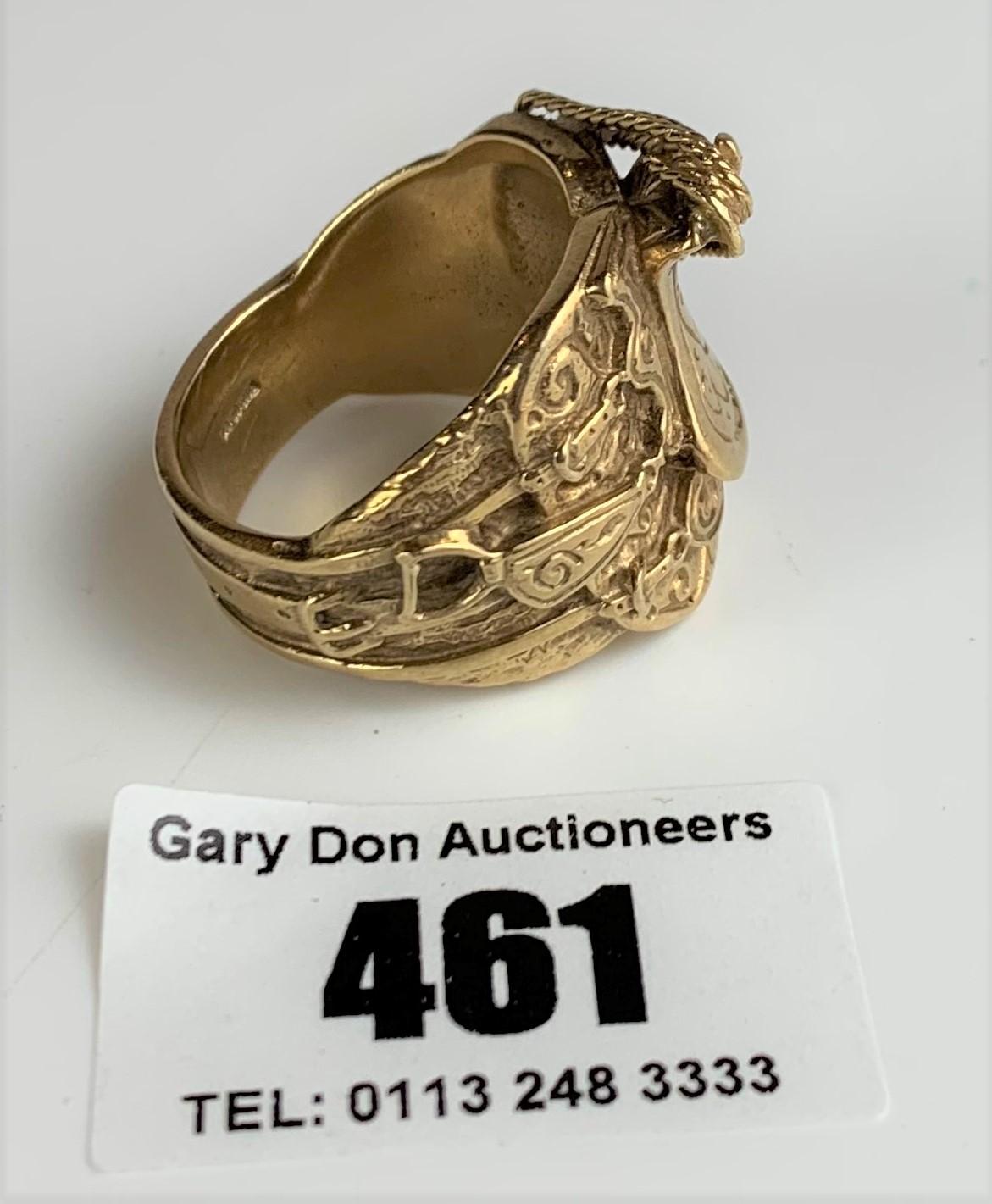 9k gold gents saddle ring, size Z+, w:26 gms - Image 3 of 6