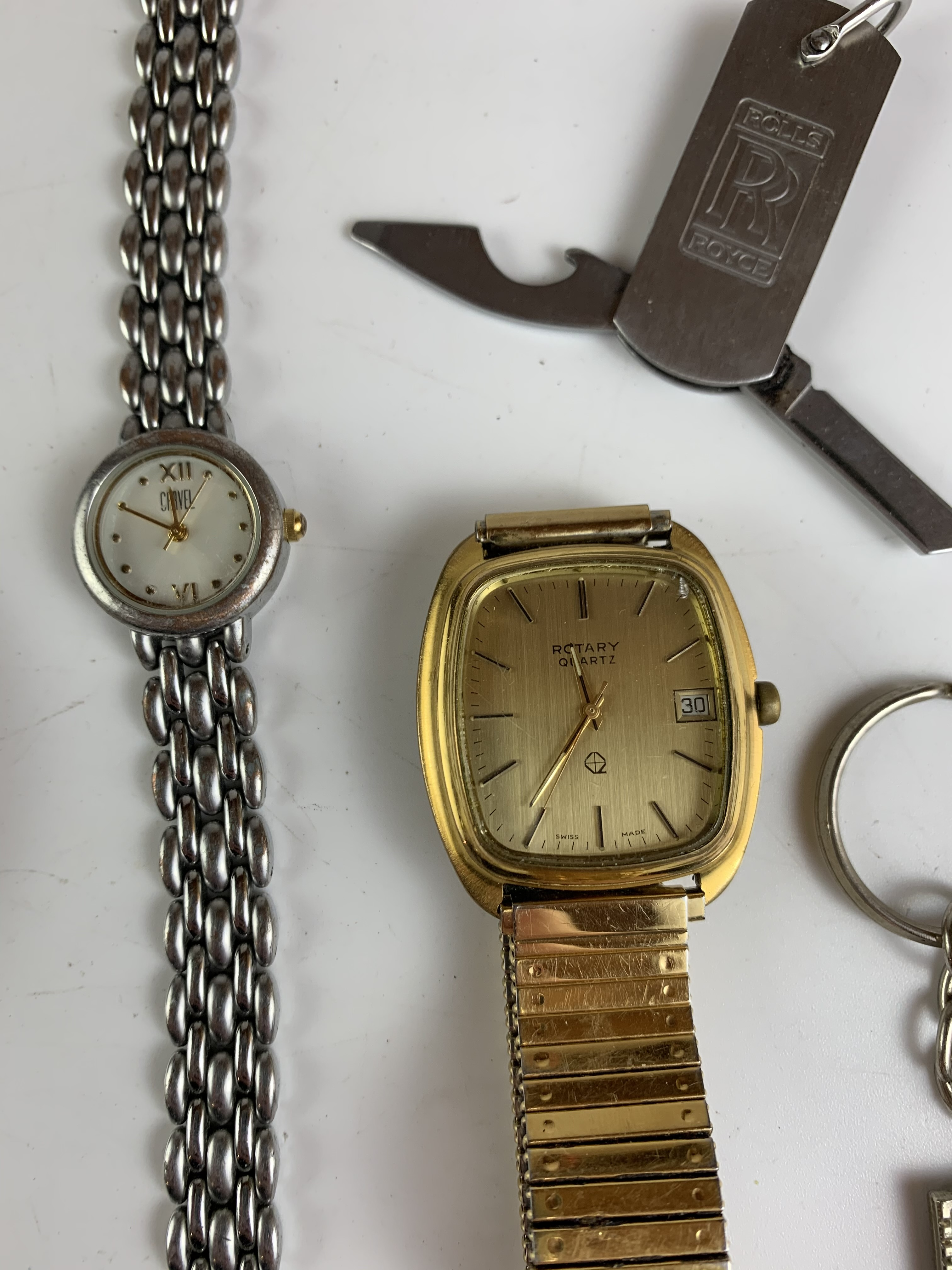 Bag of assorted dress watches, necklaces, keyrings and wooden mouse - Image 5 of 7