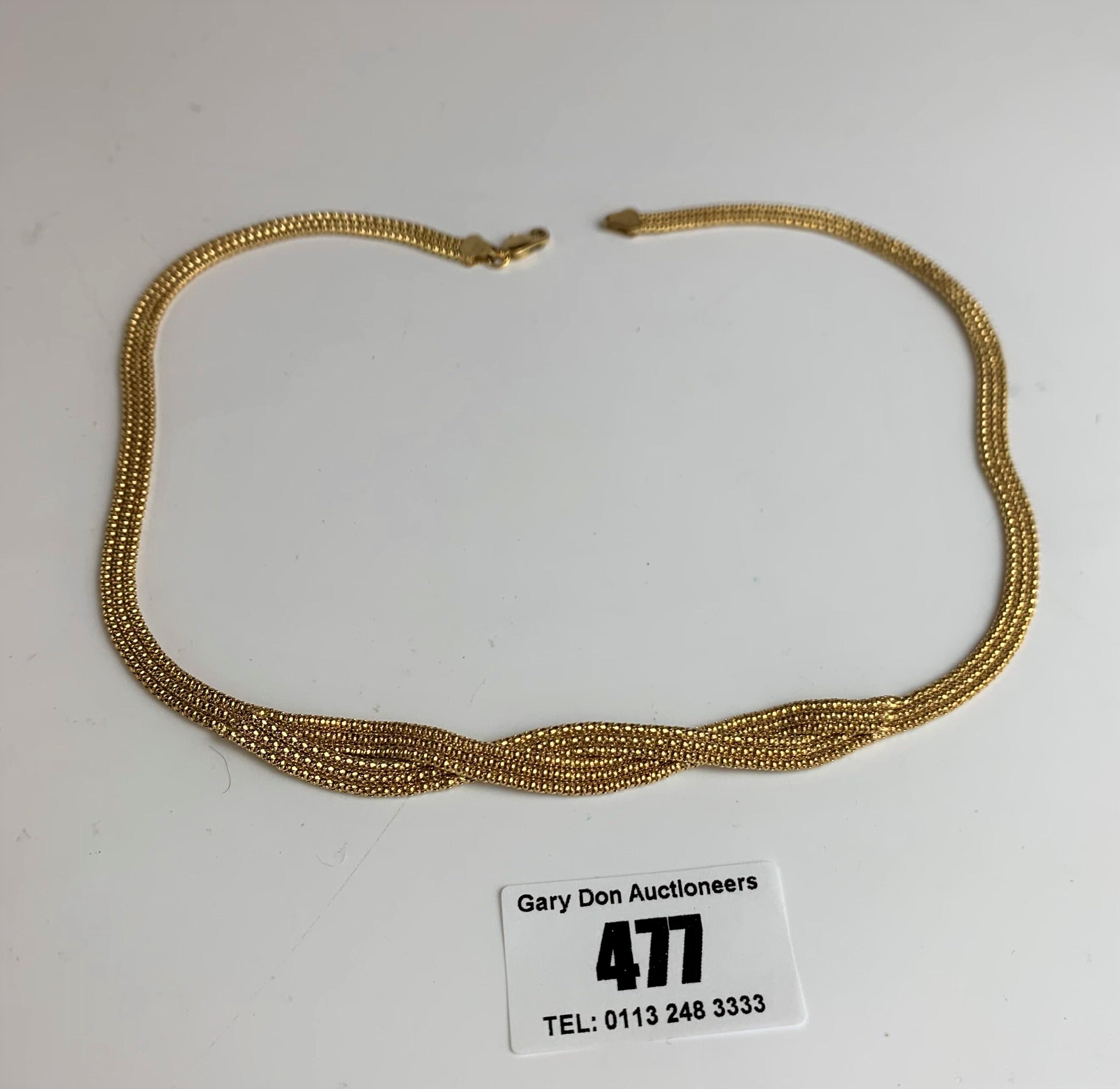 "9k gold necklace, length 16.5"", w: 11.4 gms - Image 2 of 5"