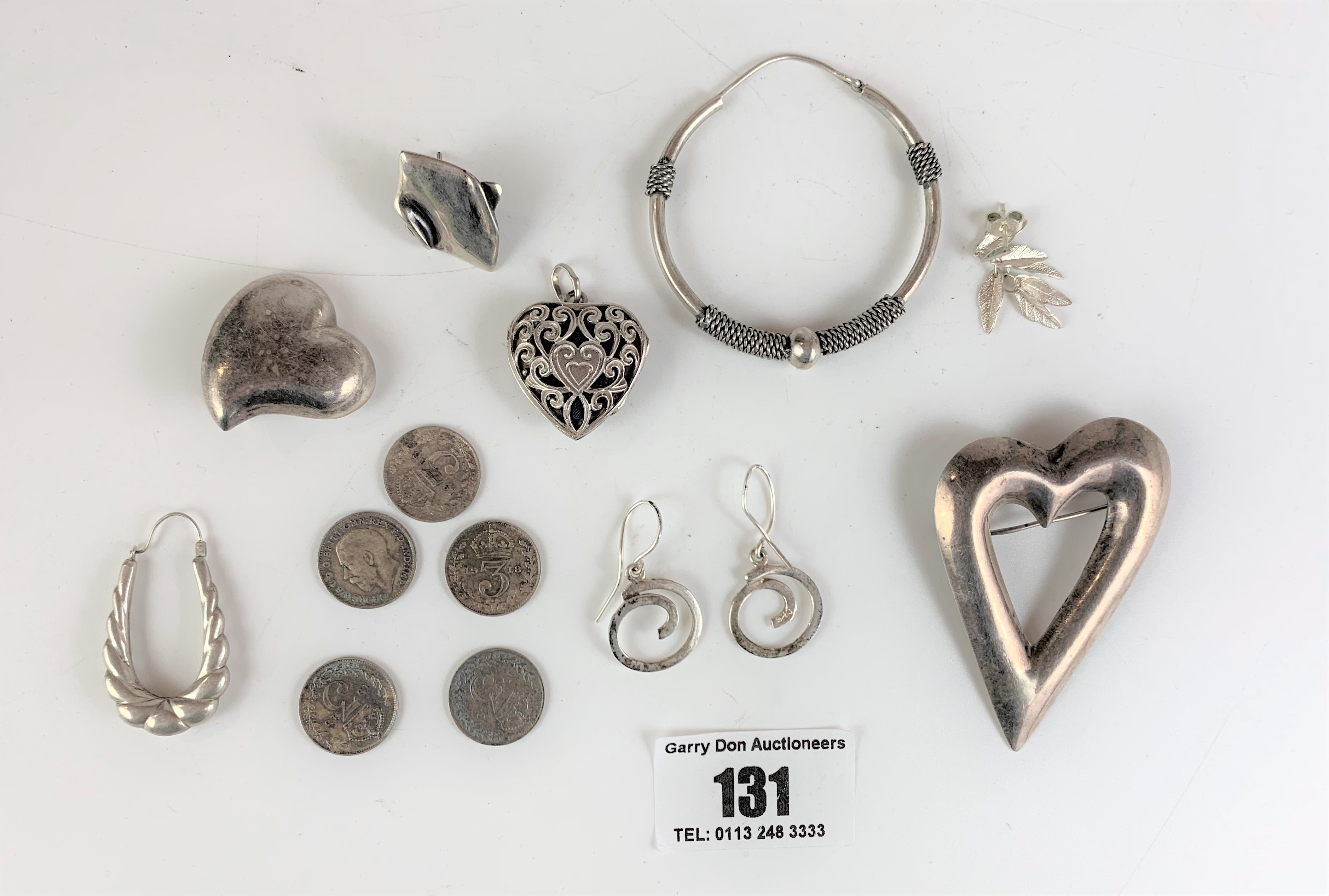 Assorted silver jewellery and coins, total w: 1.3 ozt - Image 2 of 5