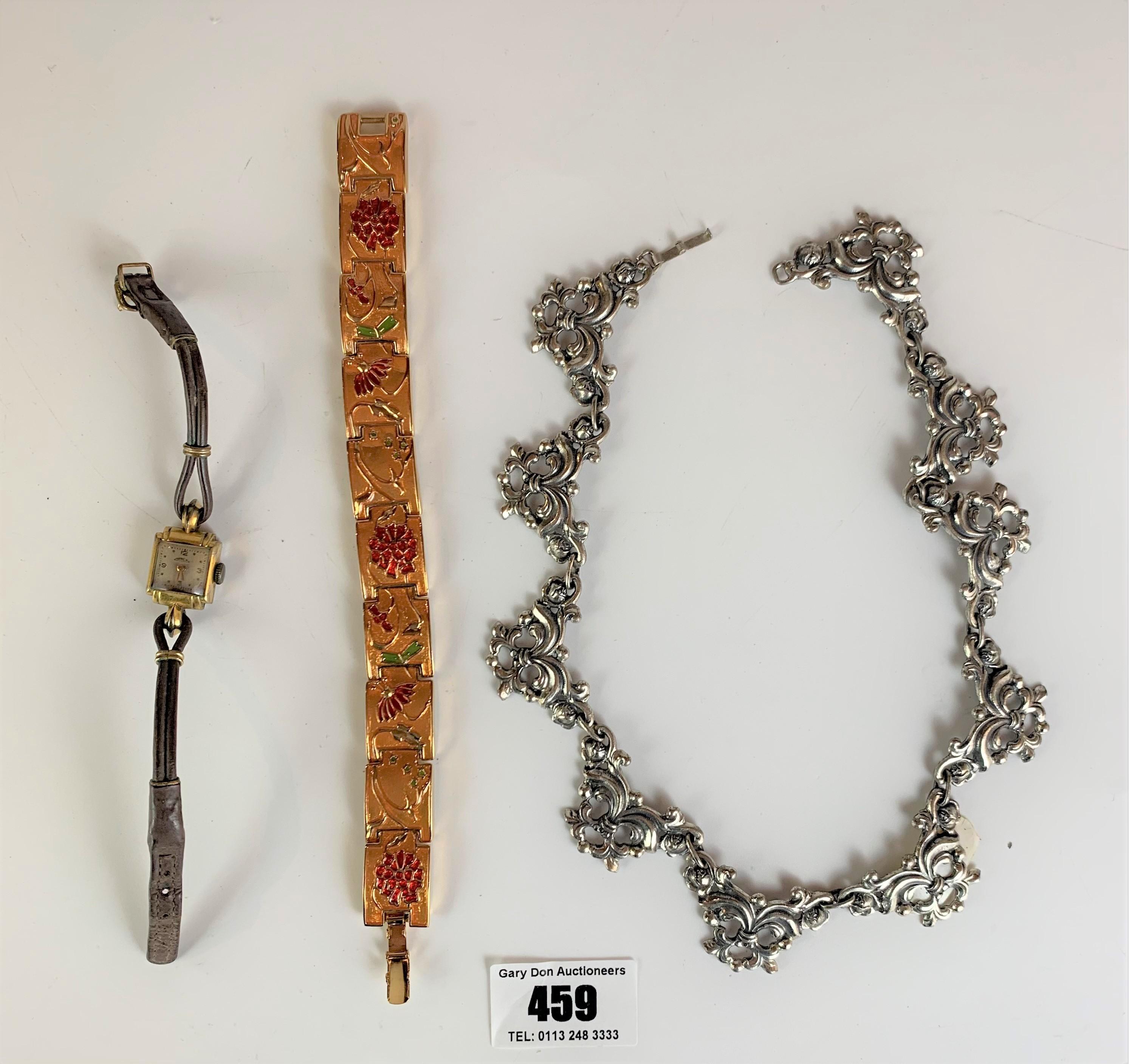 Dress plated necklace, enamel bracelet and Arnex ladies watch