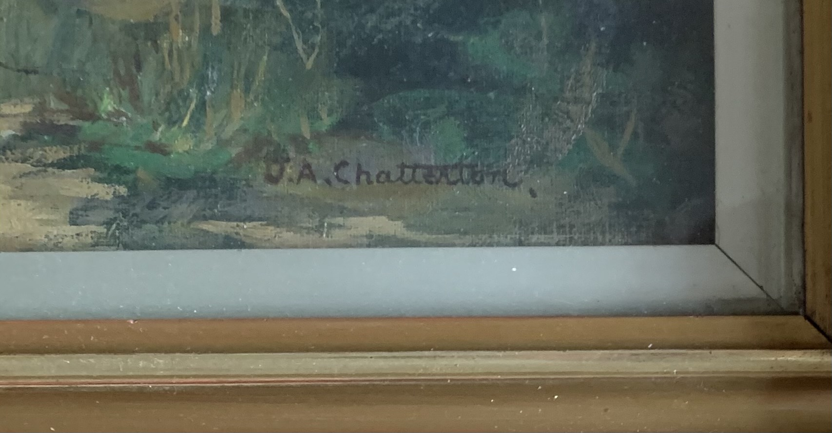 """Oil painting of landscape by J. A. Chatterton, image 15.5"""" x 13.5"""", frame 21"""" x 19"""". Painting in - Image 2 of 3"""