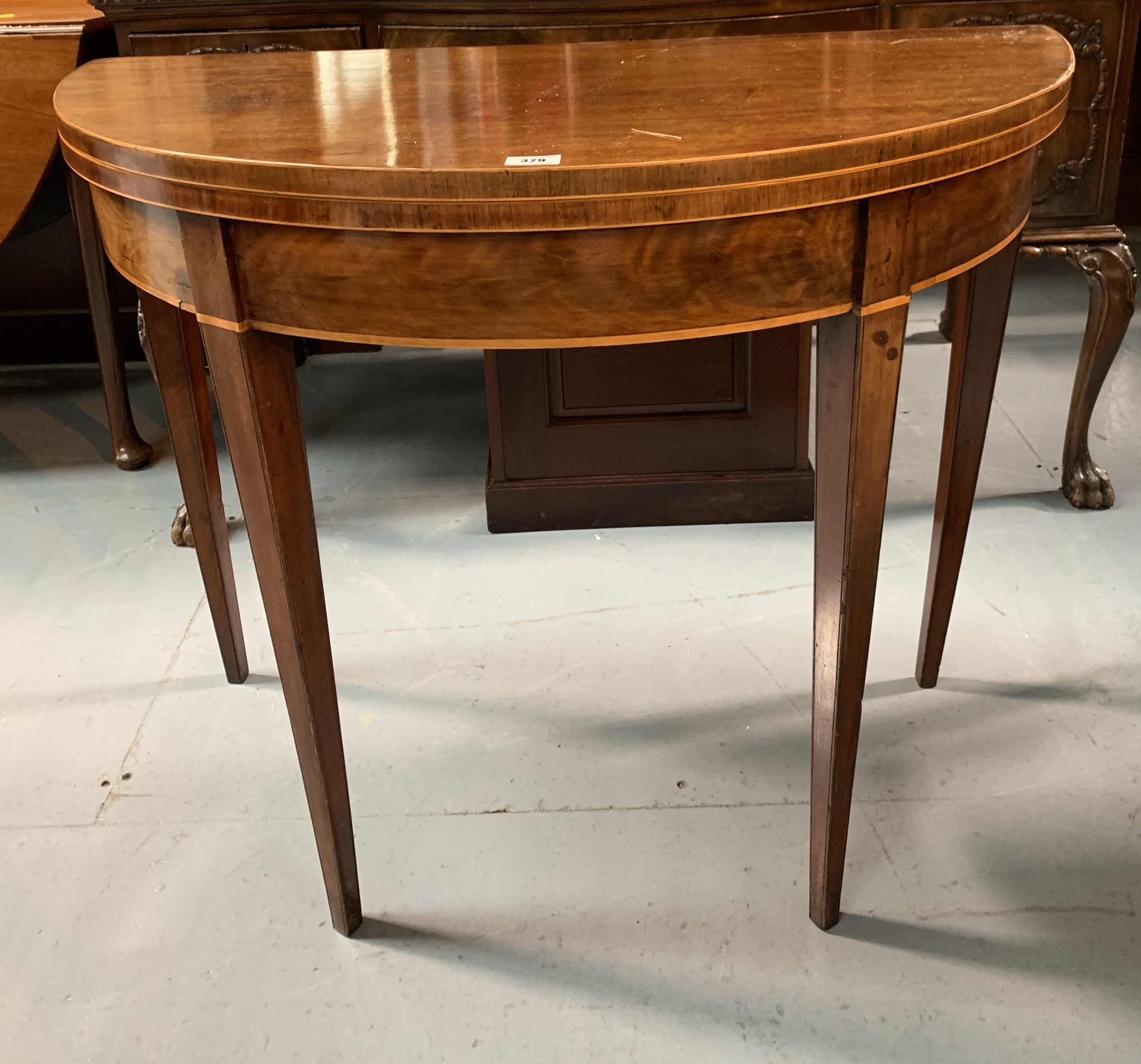 """Demi lune turnover top card table with baize interior, 36"""" wide open, 17.5"""" closed, 36"""" long, 29"""""""