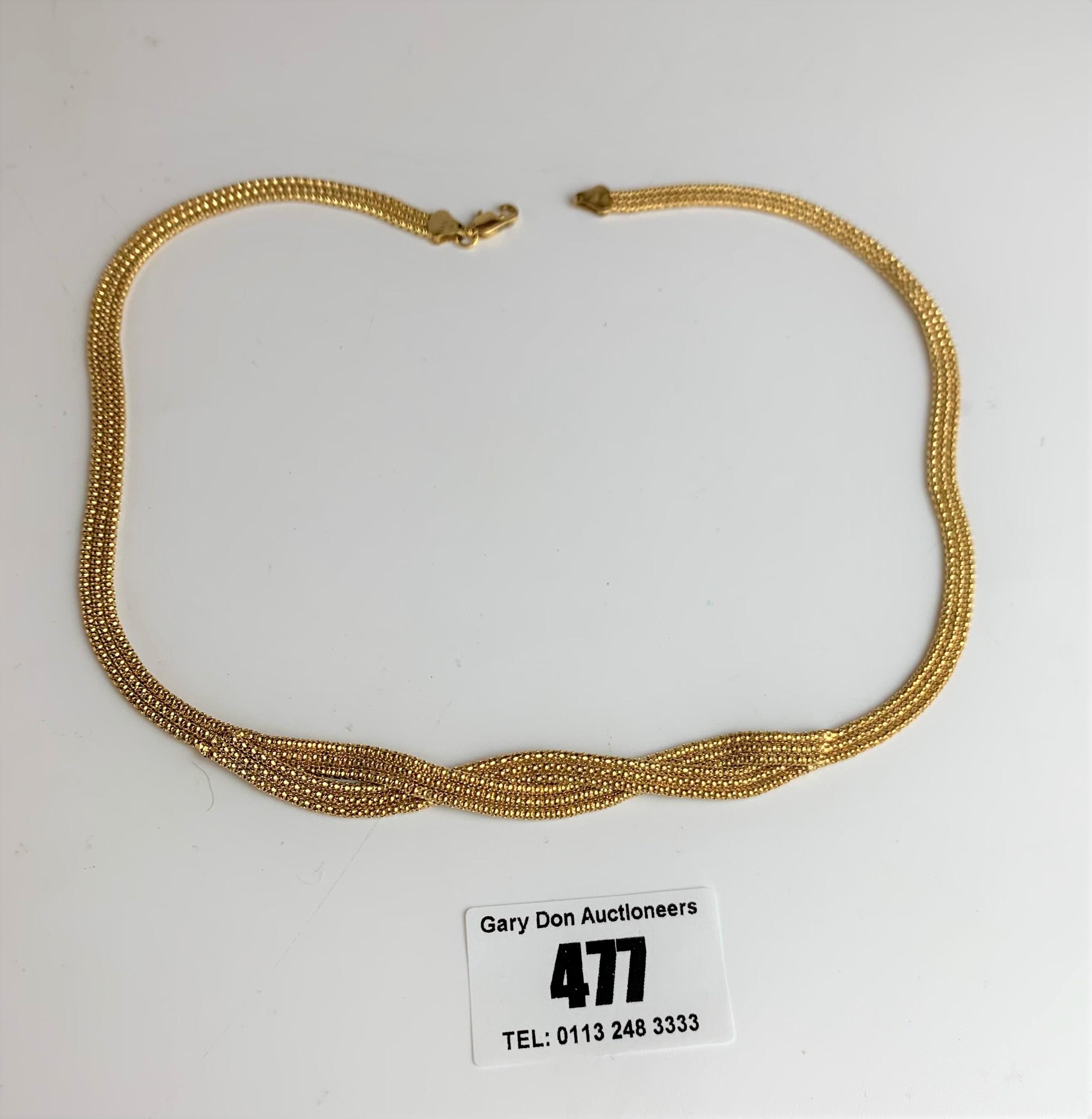 """9k gold necklace, length 16.5"""", w: 11.4 gms"""