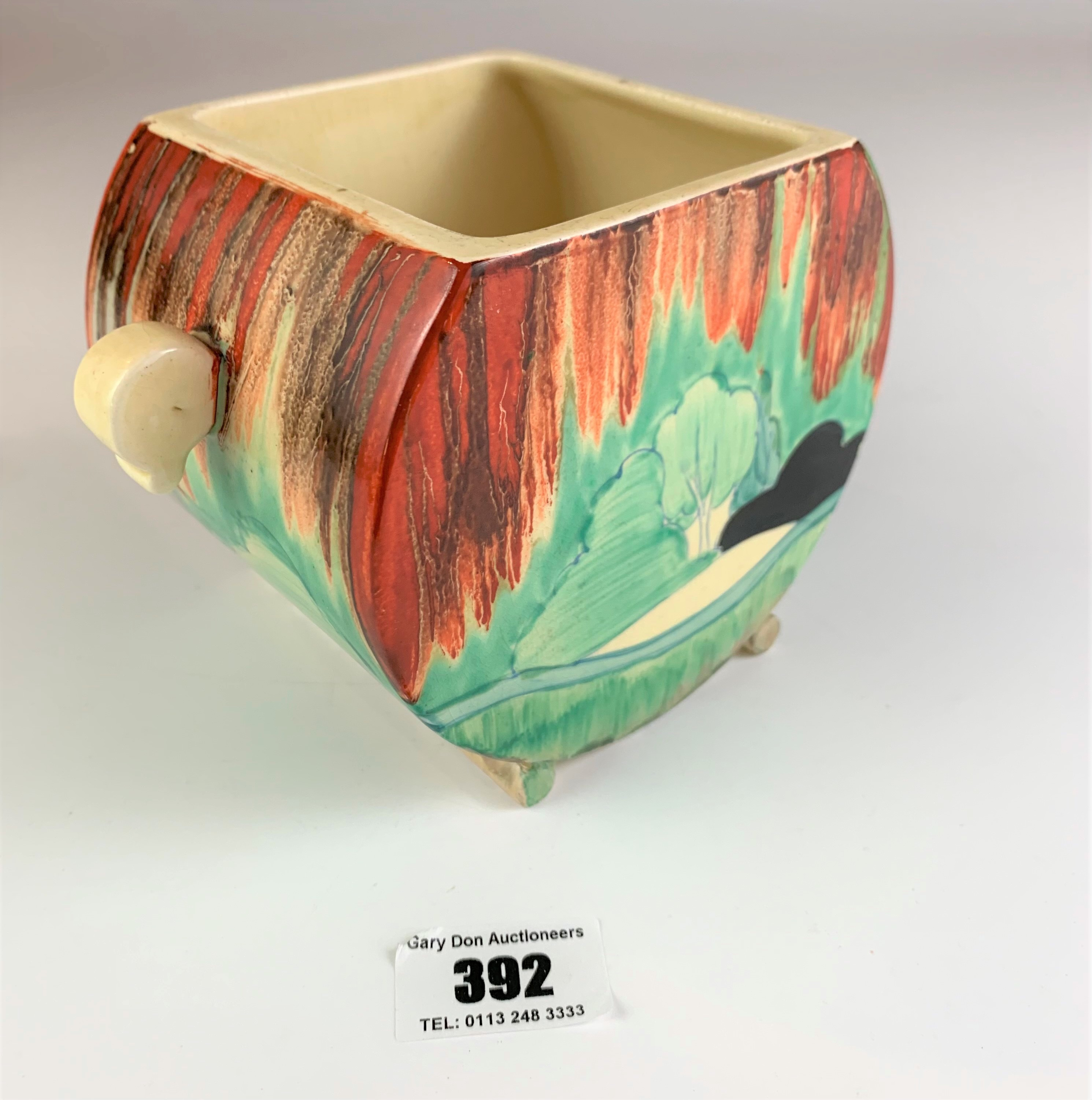 """Clarice Cliff Bizarre biscuit barrel, 4.5"""" high x 7"""" wide. No damage - Image 2 of 8"""