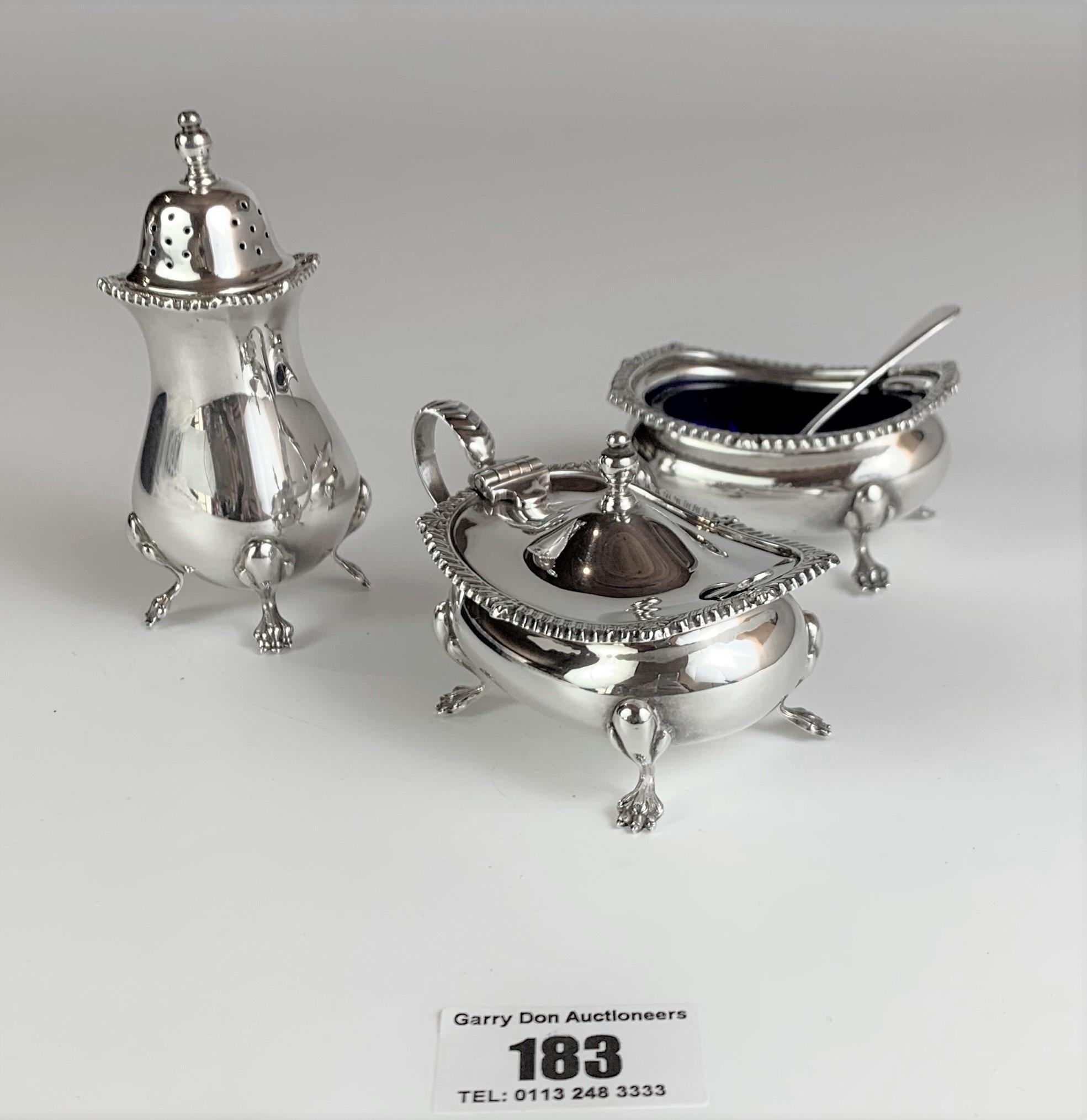 3 piece silver cruet set, pepper pot, salt dish with blue liner and spoon, mustard pot with blue