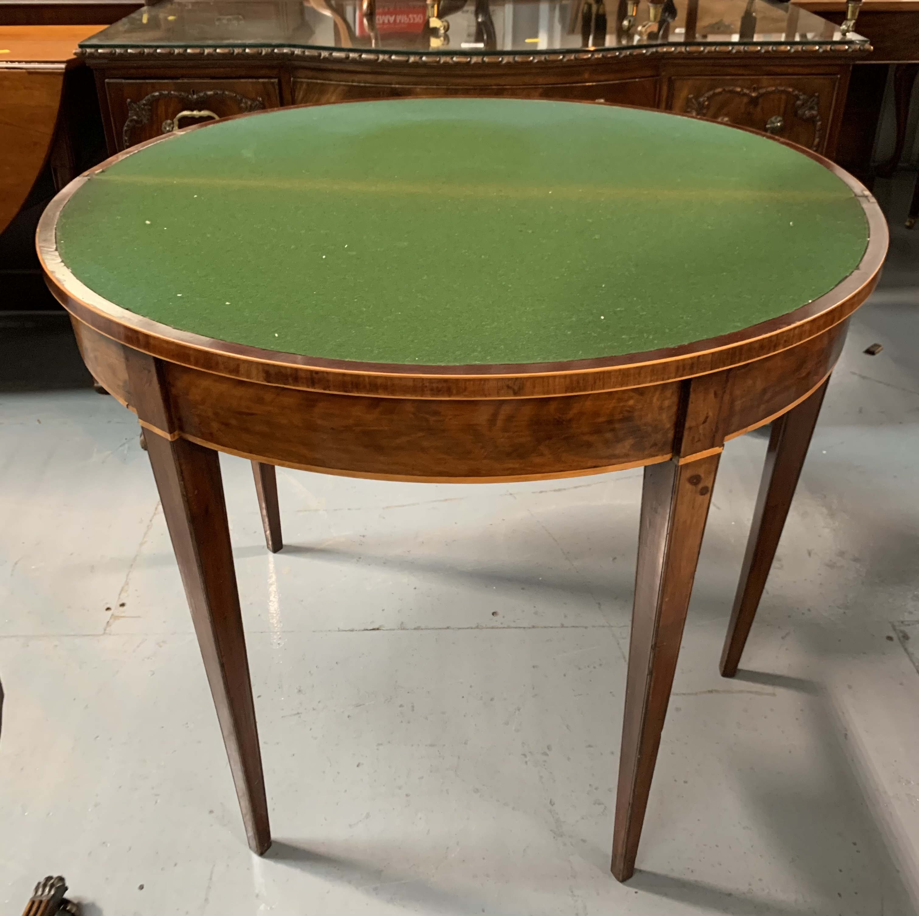 """Demi lune turnover top card table with baize interior, 36"""" wide open, 17.5"""" closed, 36"""" long, 29"""" - Image 5 of 6"""