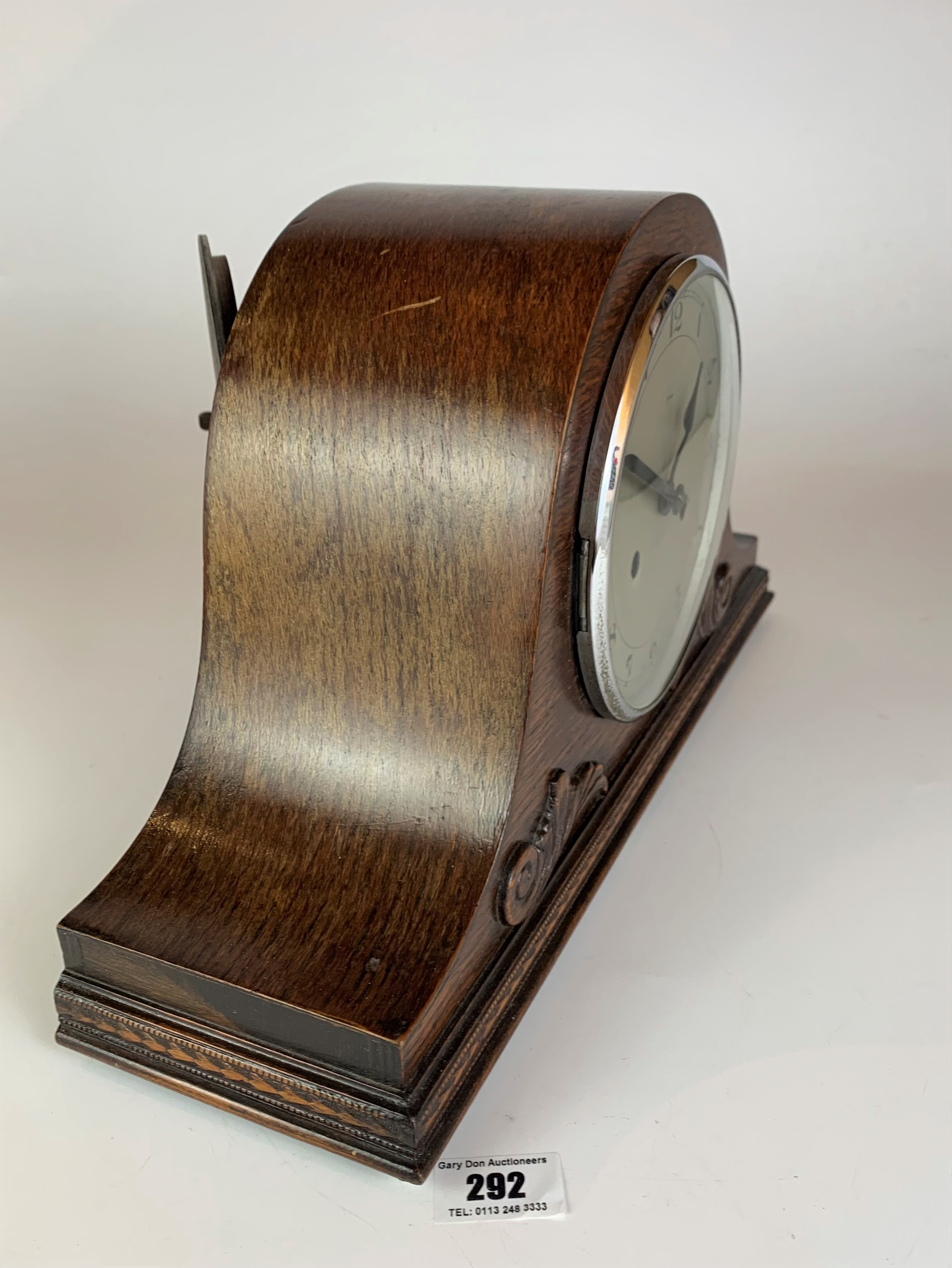 """Oak 2 hole mantle clock, 9"""" high, 16"""" wide. Working - Image 3 of 5"""