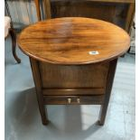 """Sewing box with round top and drawer, 21.5"""" diameter, 20"""" high"""