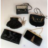 5 vintage black evening bags