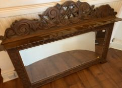 """Carved wood surround overmantle mirror, 50"""" long x 35"""" high"""