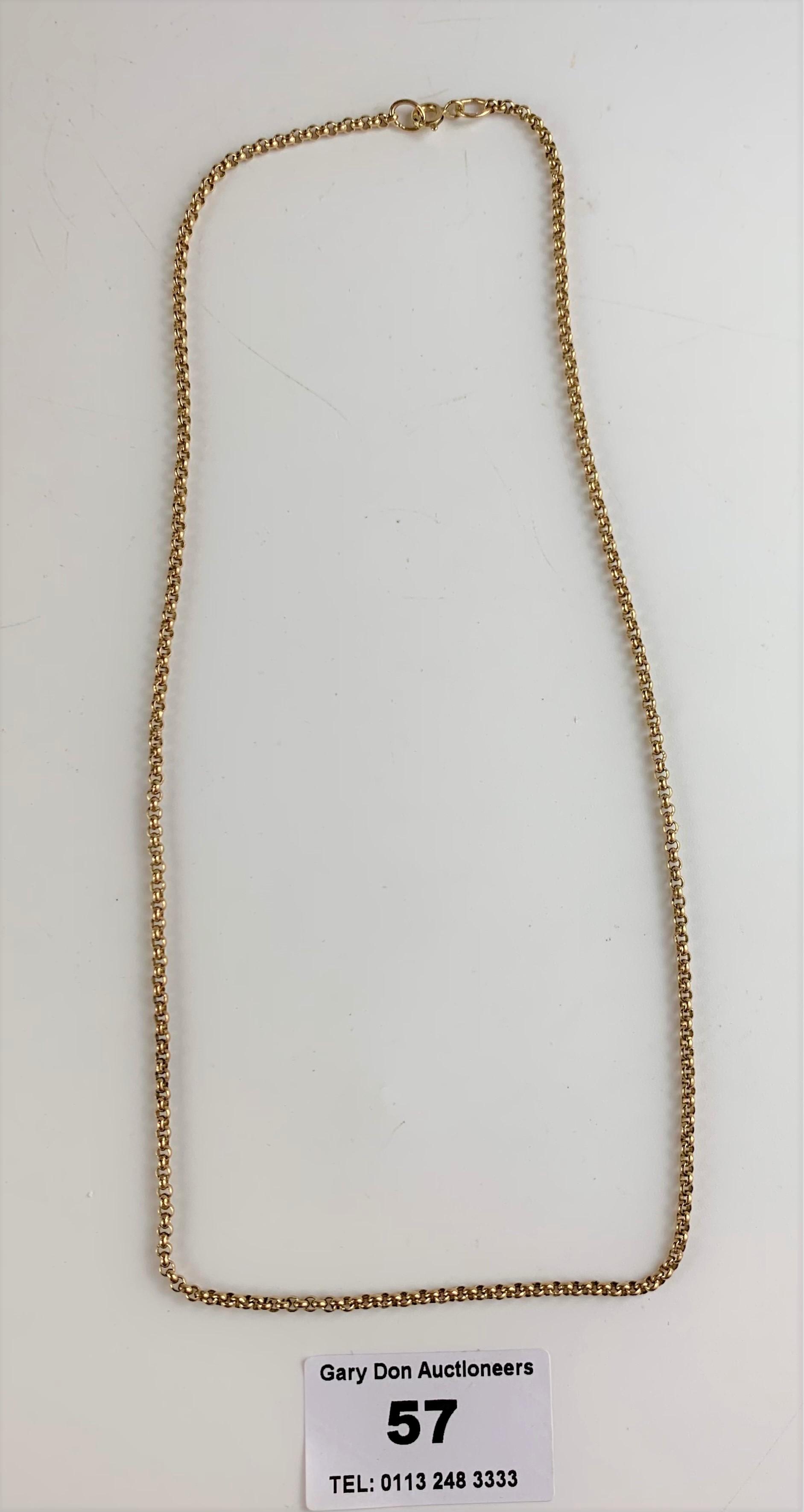 """9k gold necklace, length 18"""", w: 7.3 gms"""