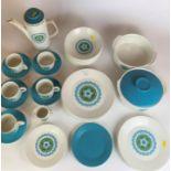 J & G Meakin Studio part tea/dinner service including 5 dinner plates (1 chipped), 2 medium