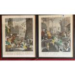 """Pair of coloured engravings 'Gin Lane' and 'Beer Street' by W. Hegarth. Images 13"""" x 16"""", frames 15"""""""