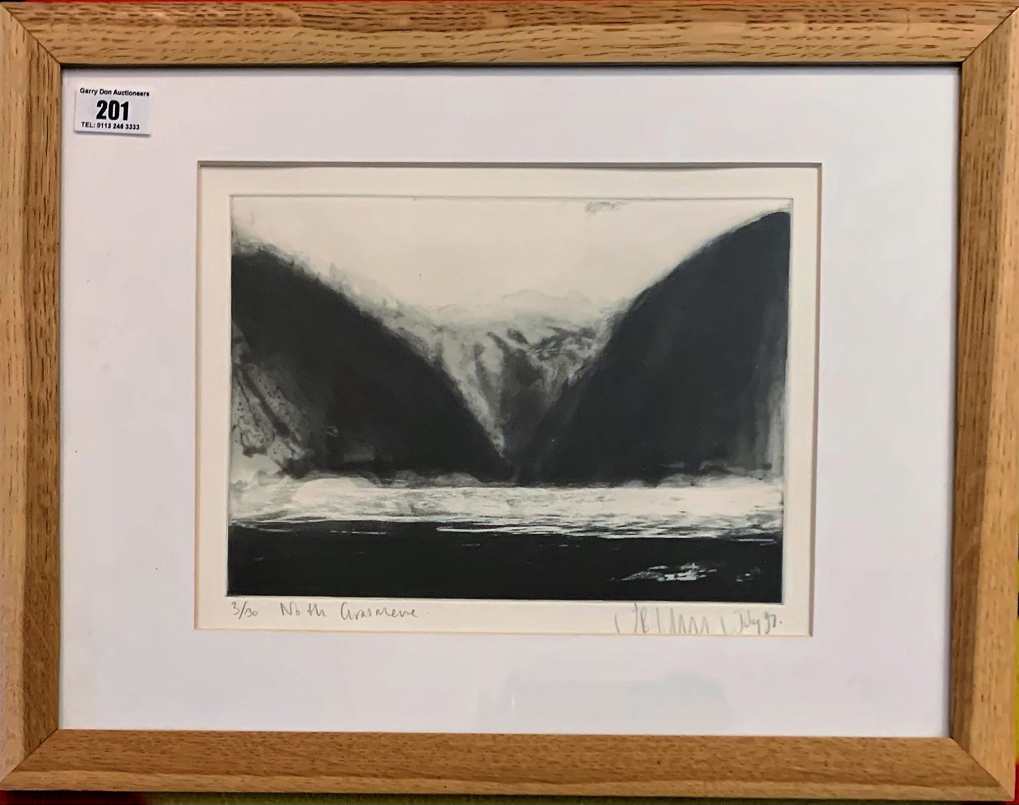 """Signed lithograph 'North Grasmere', no. 3/30. Image 9.5"""" x 7"""", frame 17.5"""" x 13.5"""". Good condition"""