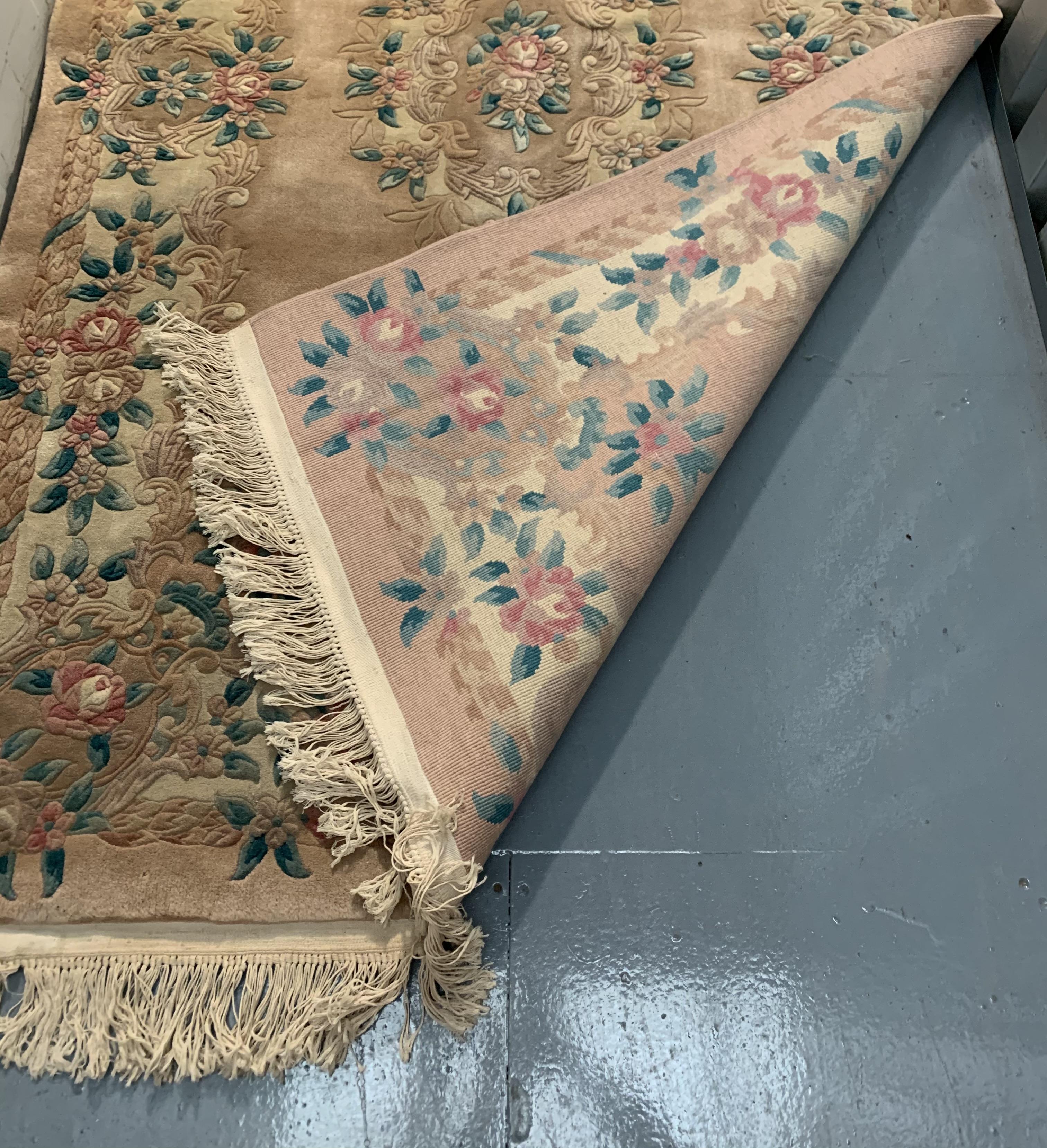 "Pink/beige/green flowered rug, 96"" long, 60"" wide - Image 3 of 3"