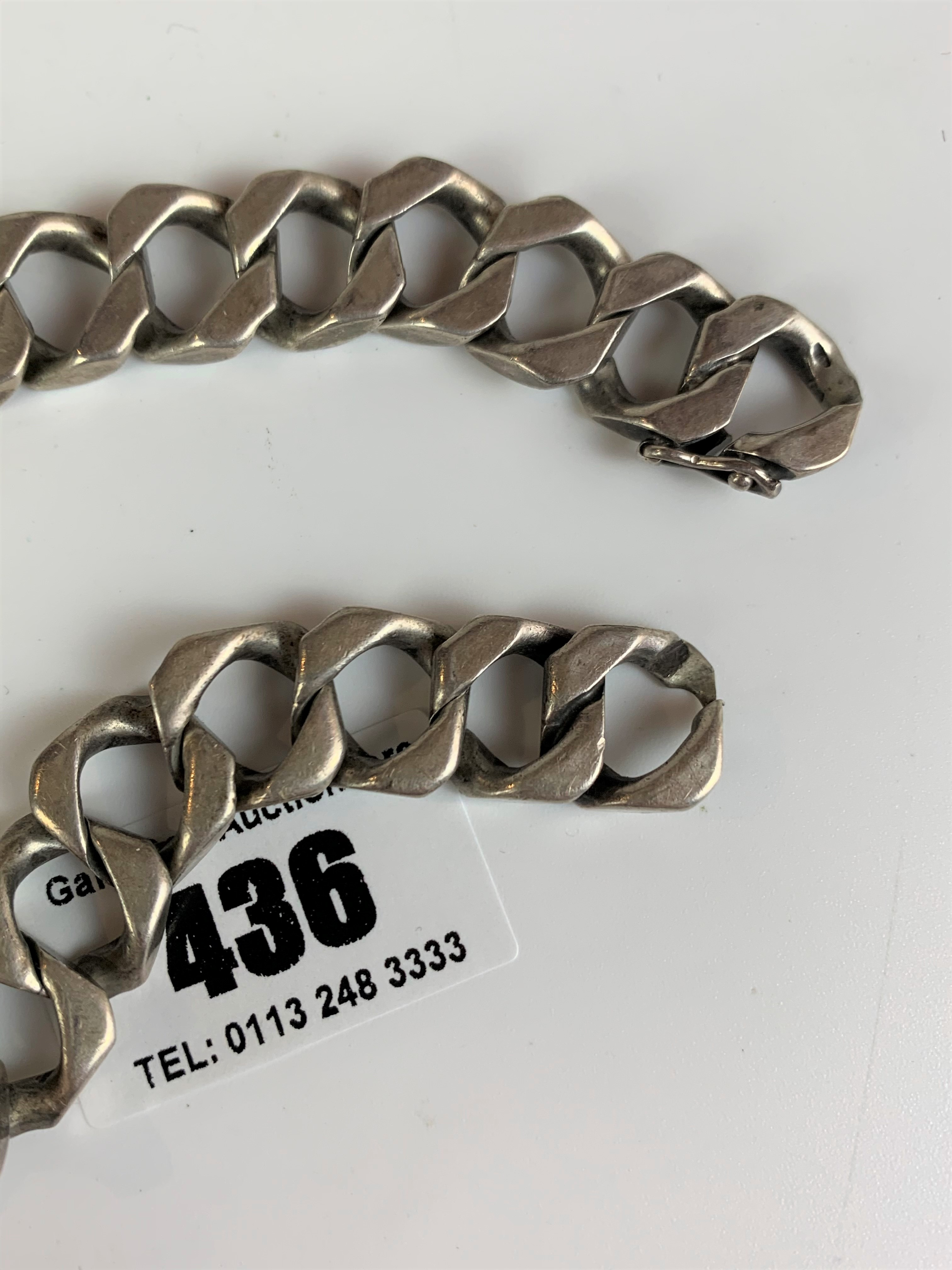 """Silver ID bracelet, inscribed 'Peter', length 9"""", w: 2.1 ozt - Image 5 of 5"""