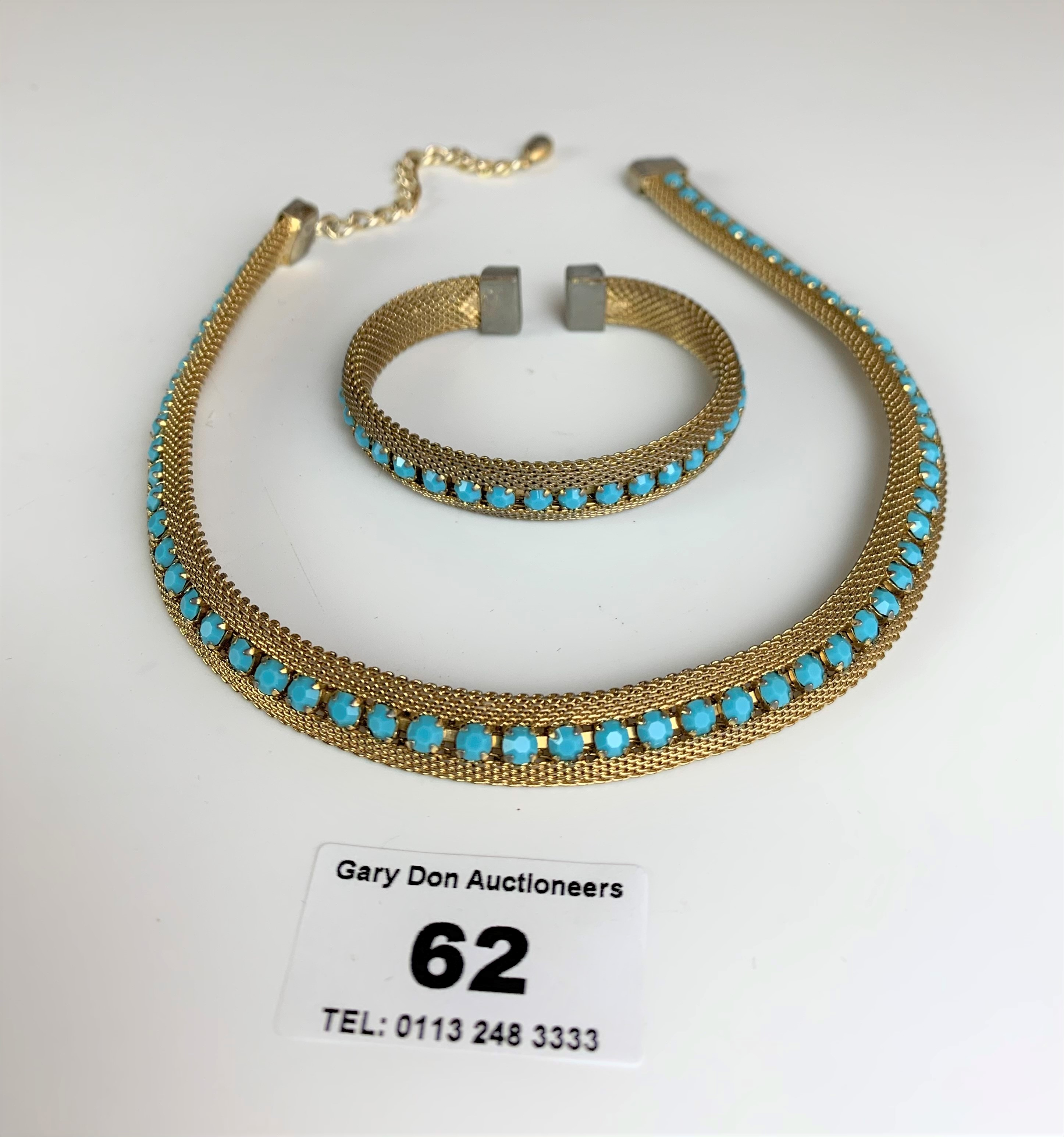 """Dress choker style necklace and matching bangle with turquoise colour stones. Necklace 13"""" long, - Image 4 of 6"""