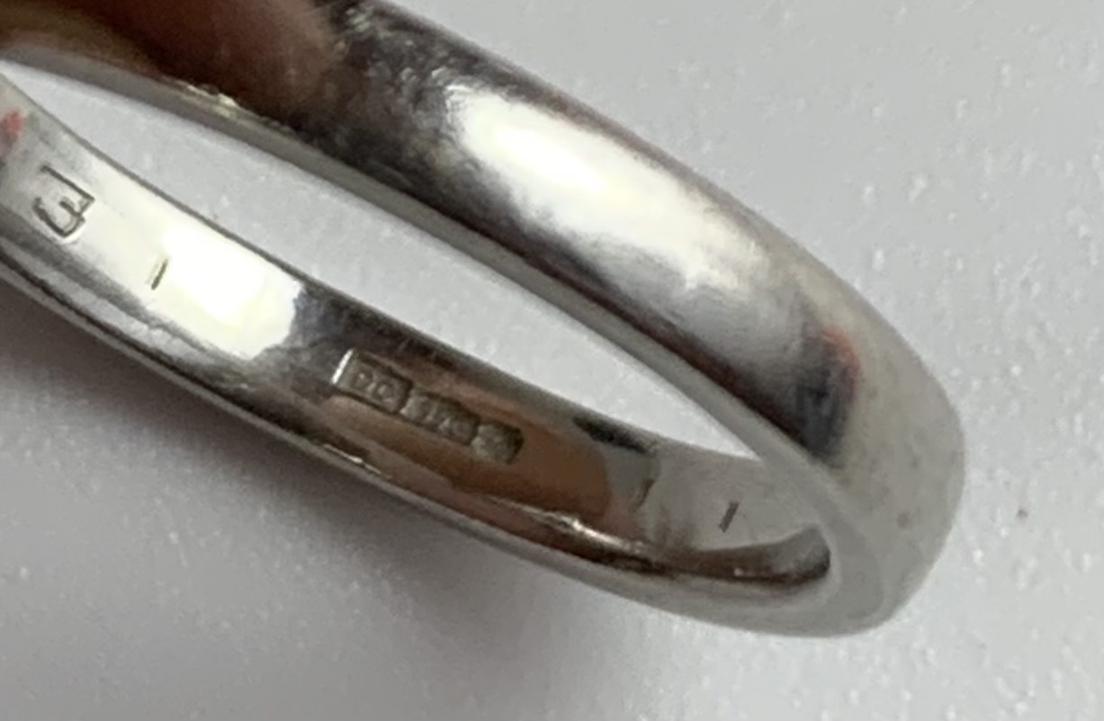Platinum and diamond ring, size L/M, w: 6 gms - Image 6 of 6