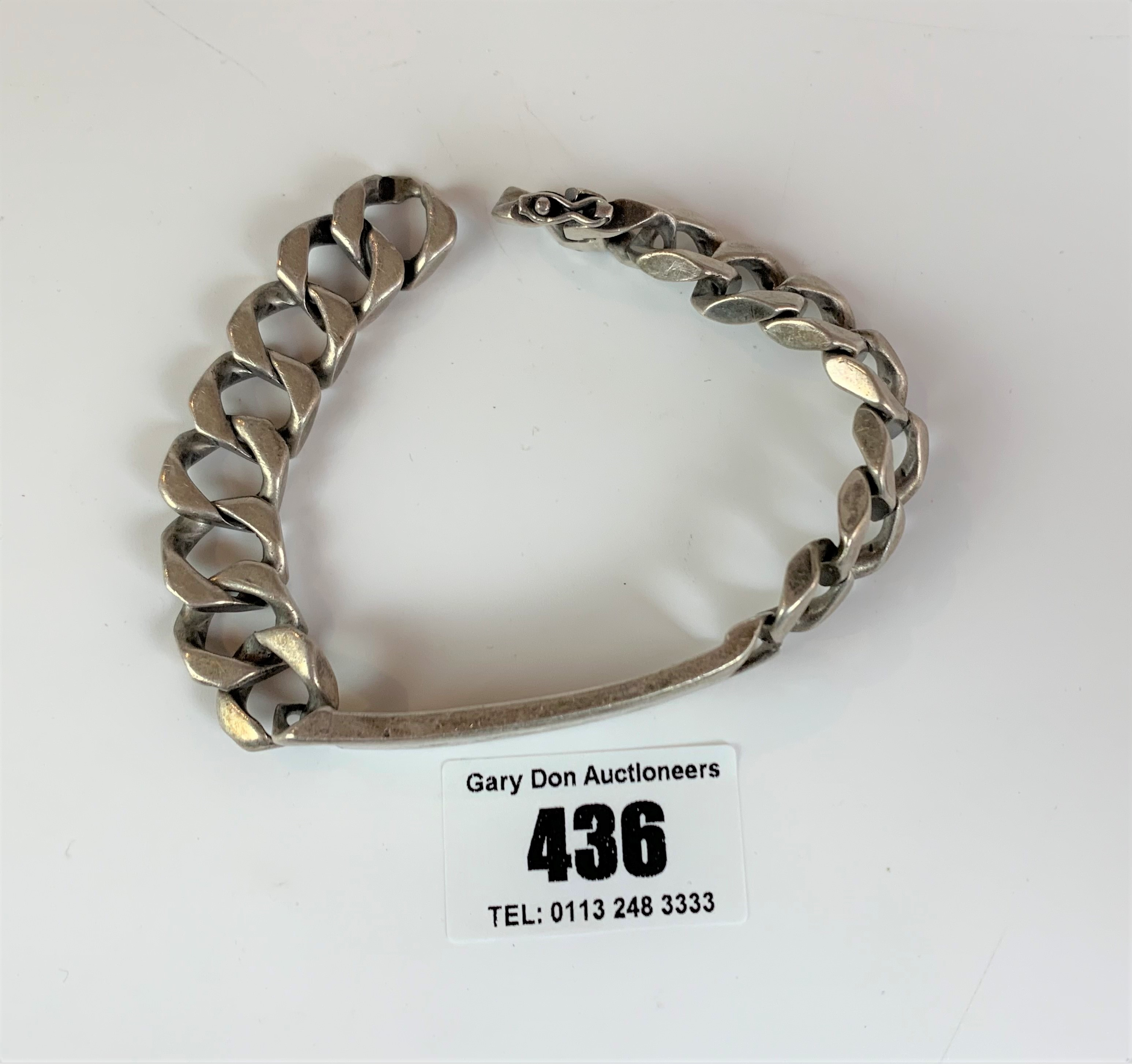 """Silver ID bracelet, inscribed 'Peter', length 9"""", w: 2.1 ozt - Image 3 of 5"""