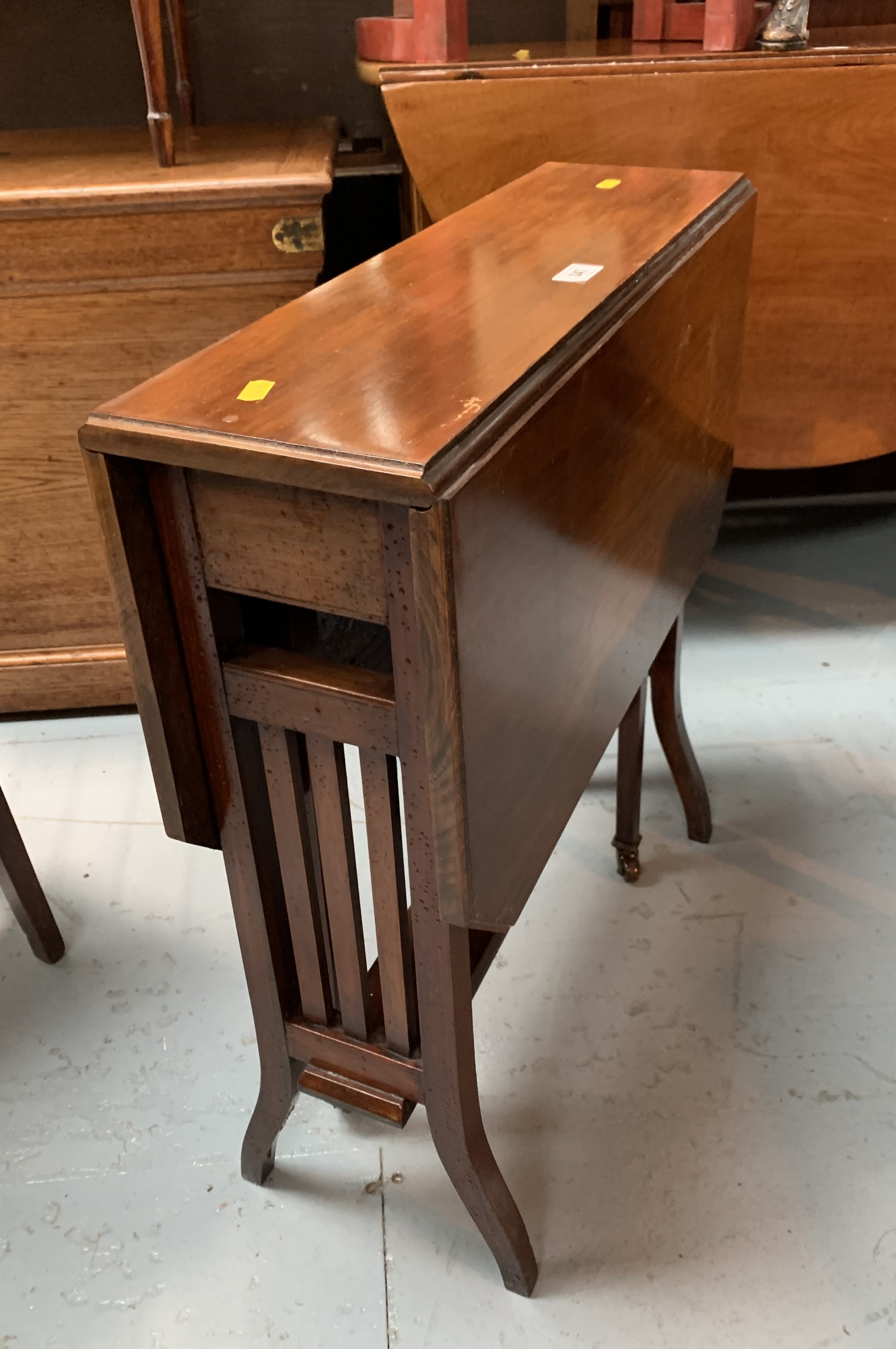 """Dropleaf side table, 29.5"""" open, 7.5"""" closed, 24"""" long, 26"""" high"""