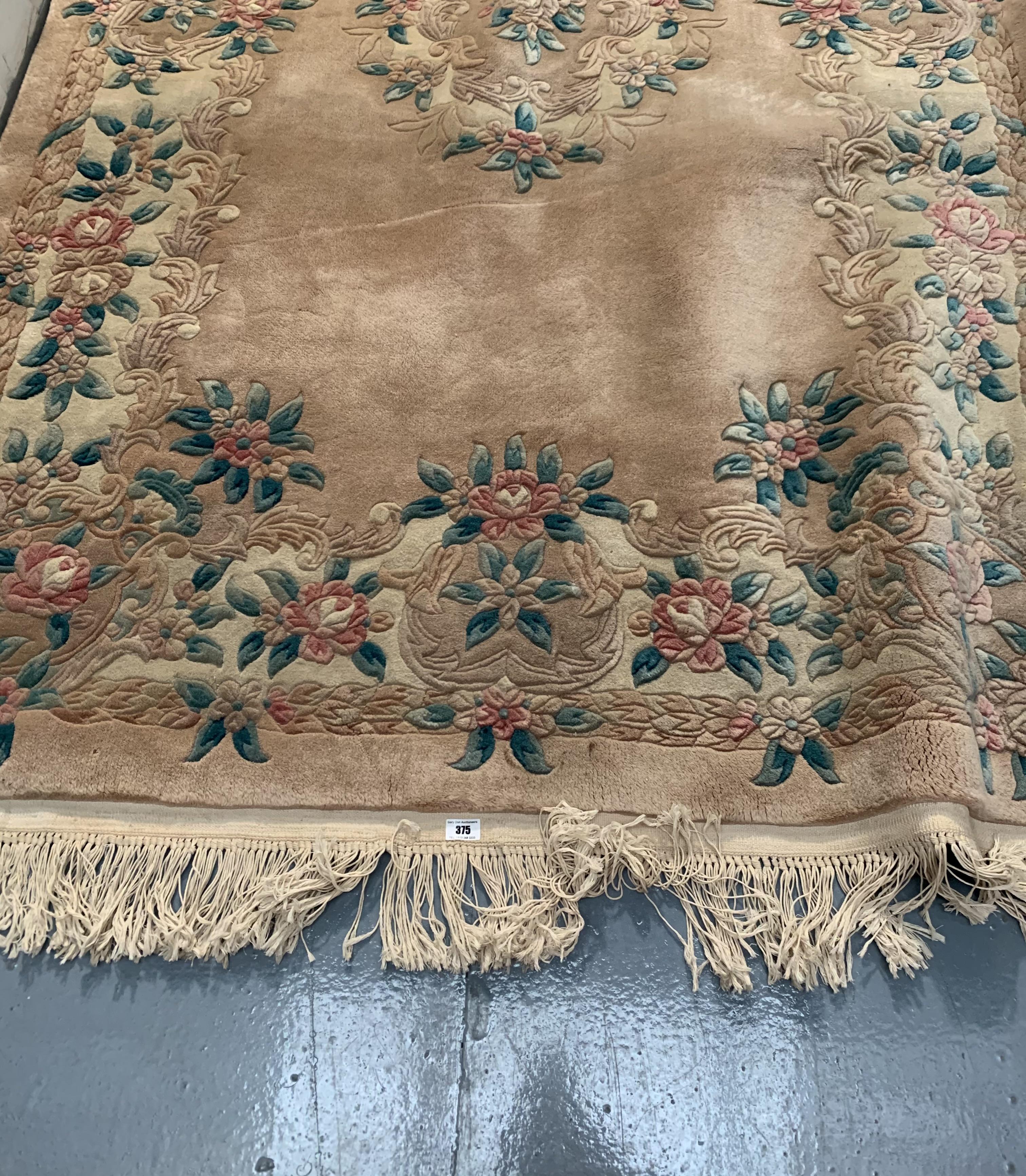 "Pink/beige/green flowered rug, 96"" long, 60"" wide - Image 2 of 3"